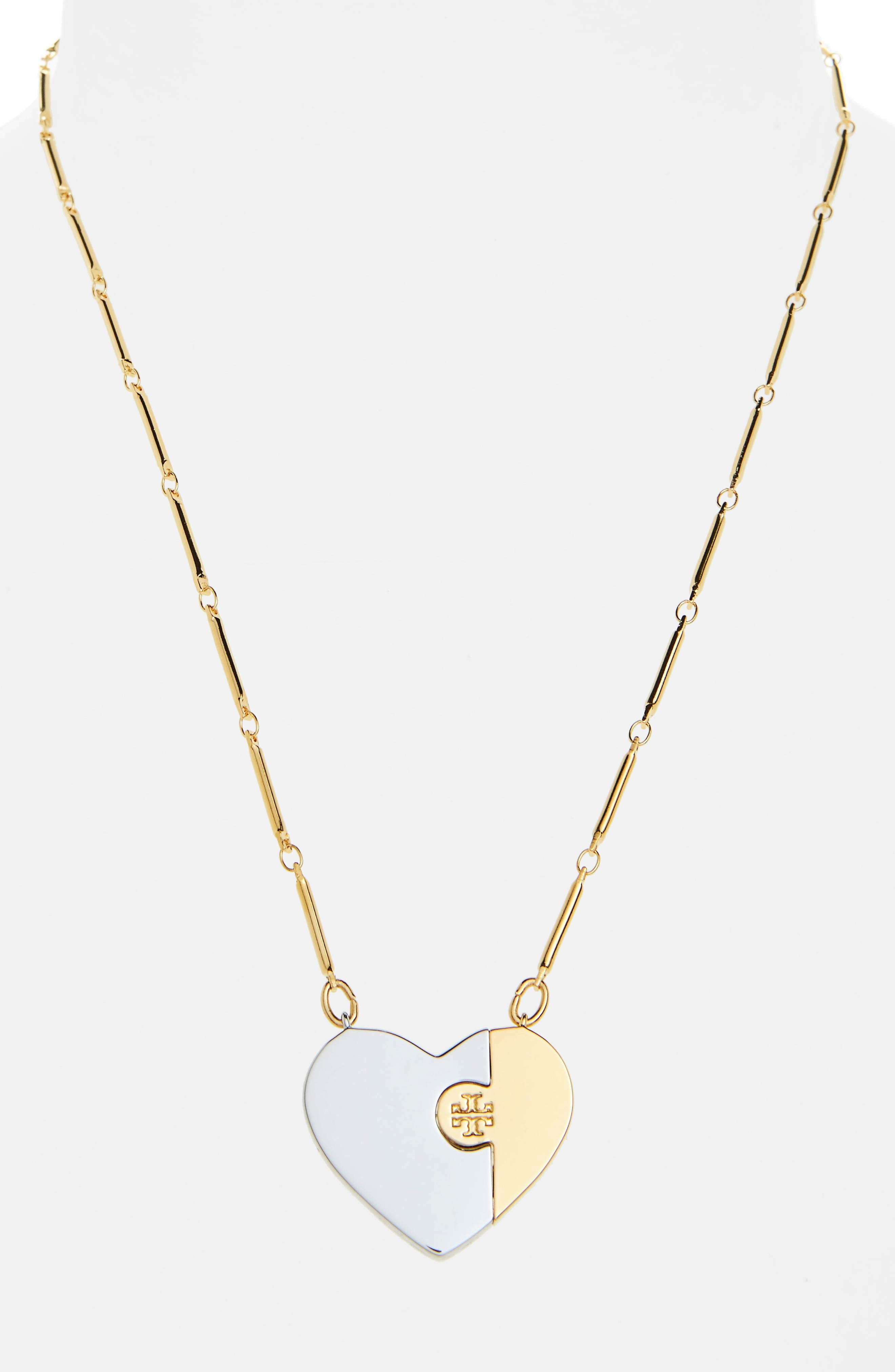 Puzzle Heart Pendant Necklace,                             Alternate thumbnail 2, color,                             Tory Gold / Tory Silver