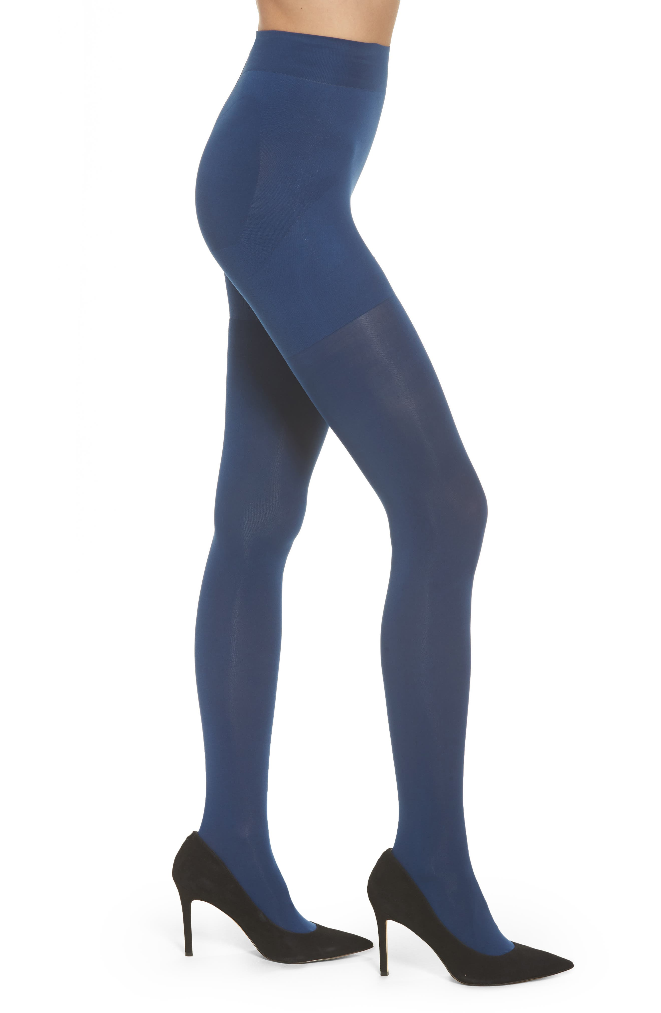 Opaque Shaper Tights,                         Main,                         color, Ink Blue