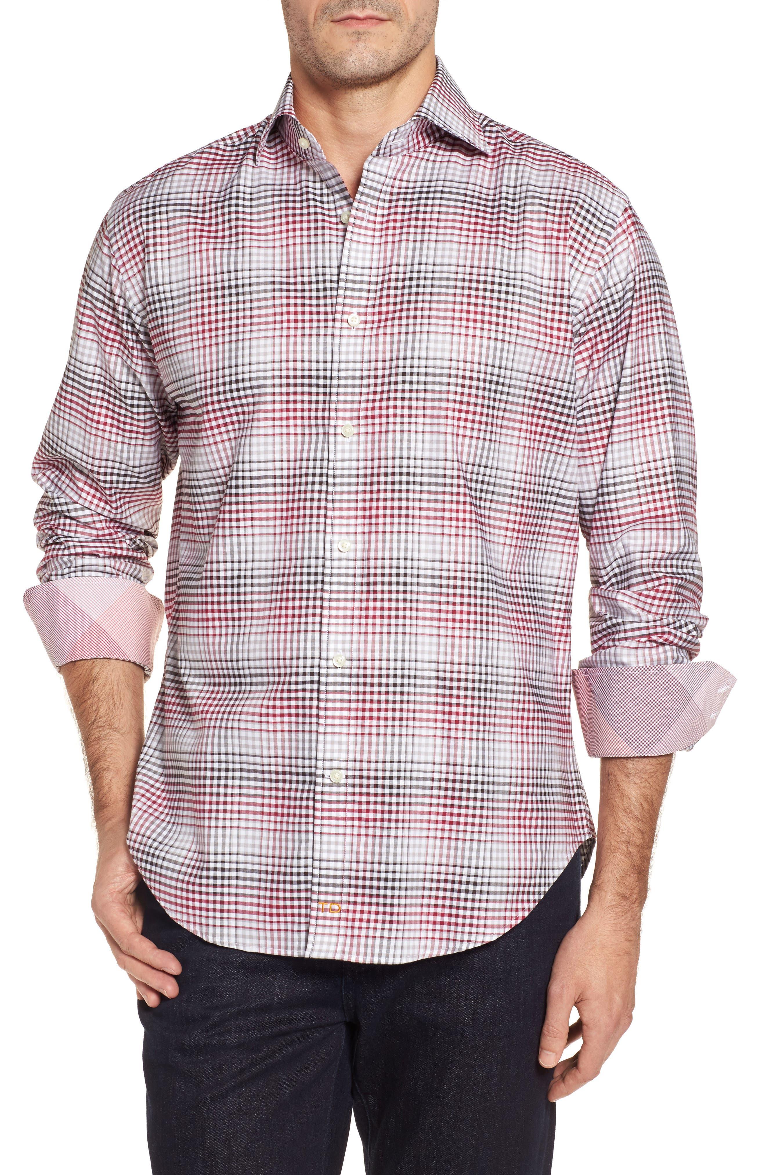 Main Image - Thomas Dean Regular Fit Check Sport Shirt
