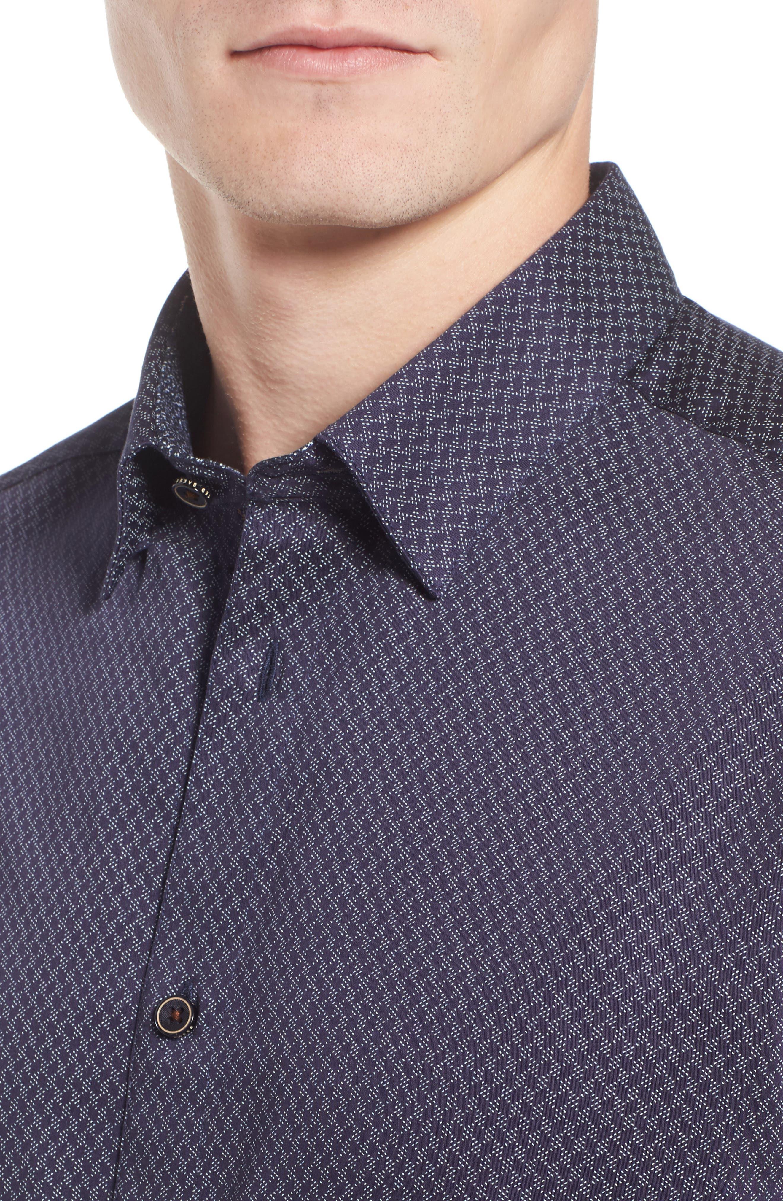 Alternate Image 4  - Ted Baker London Modern Slim Fit Print Sport Shirt