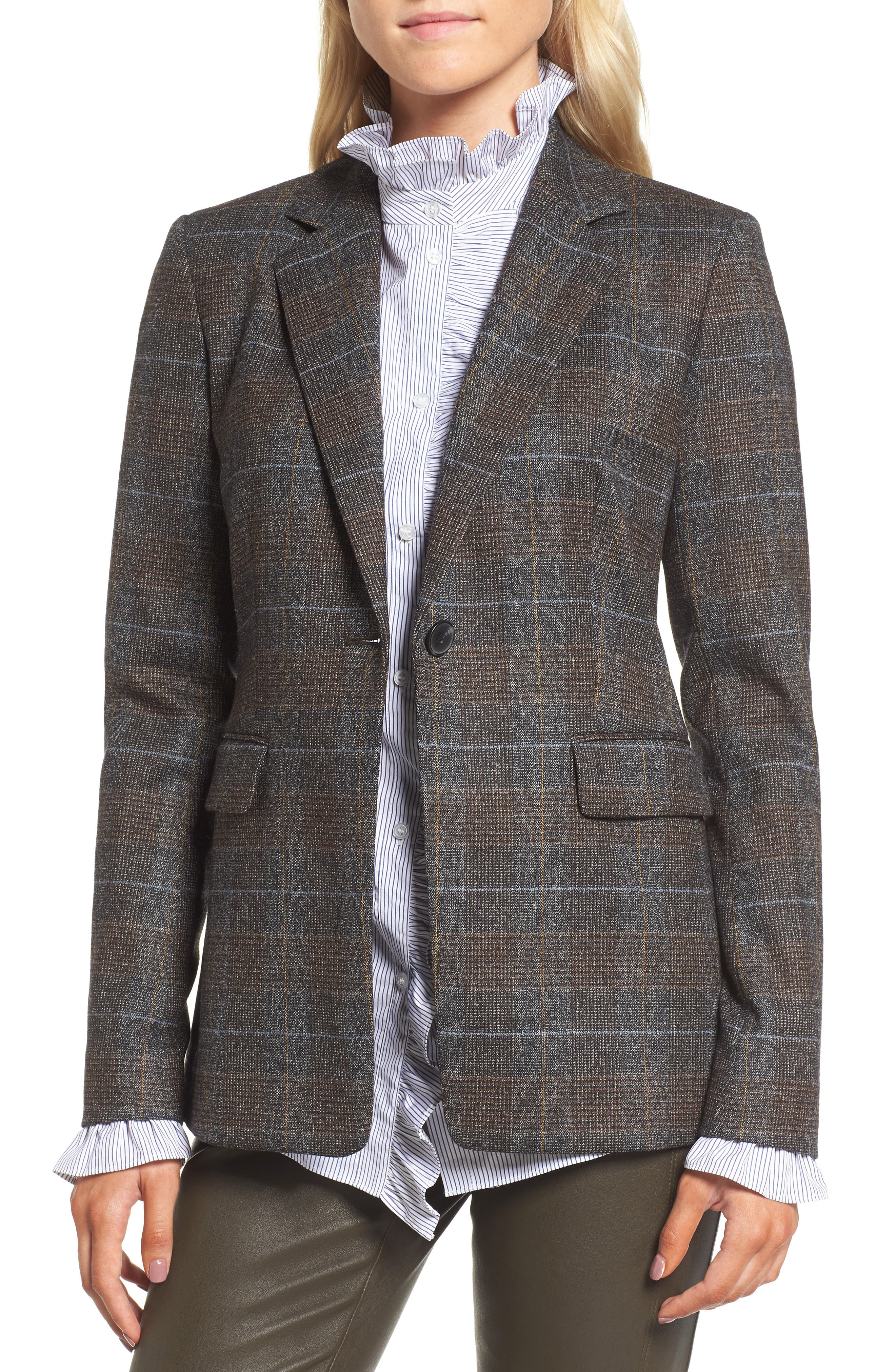 Main Image - Nordstrom Signature Elbow Patch Plaid Jacket
