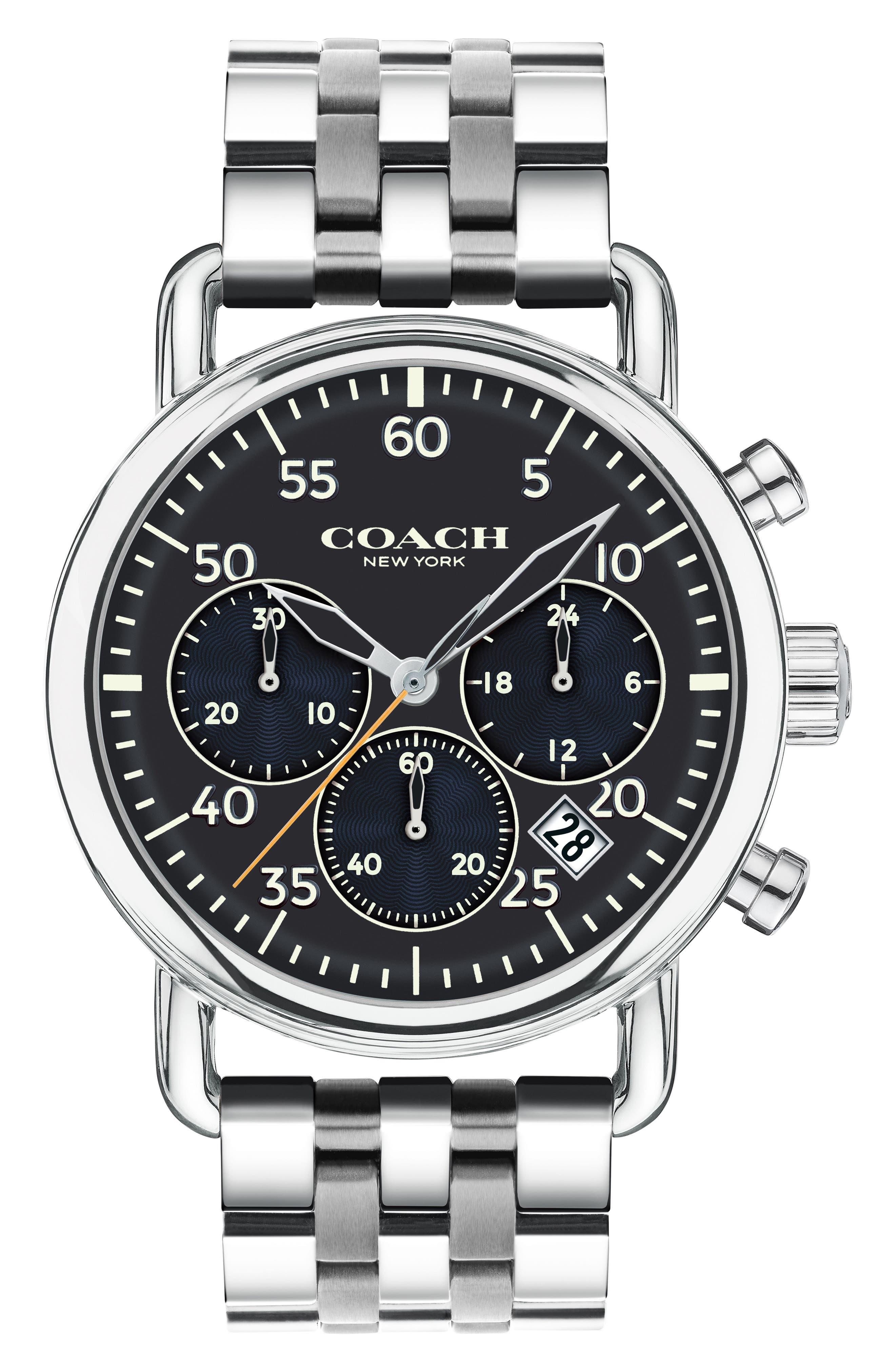 Delancey Chronograph Bracelet Watch, 42mm,                             Main thumbnail 1, color,                             Silver/ Blue/ Silver