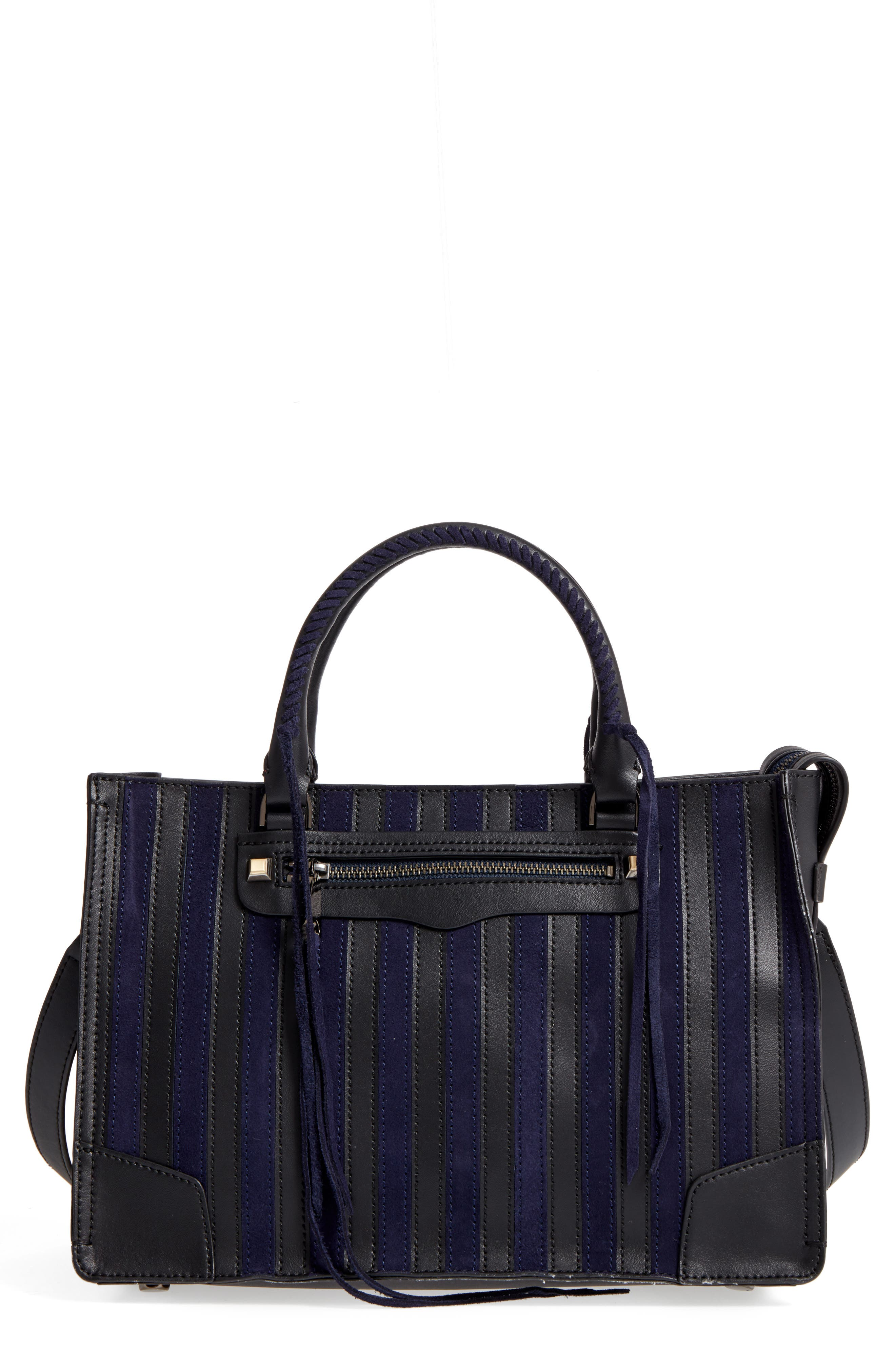 Rebecca Minkoff Regan Stripe Leather & Suede Top Handle Satchel