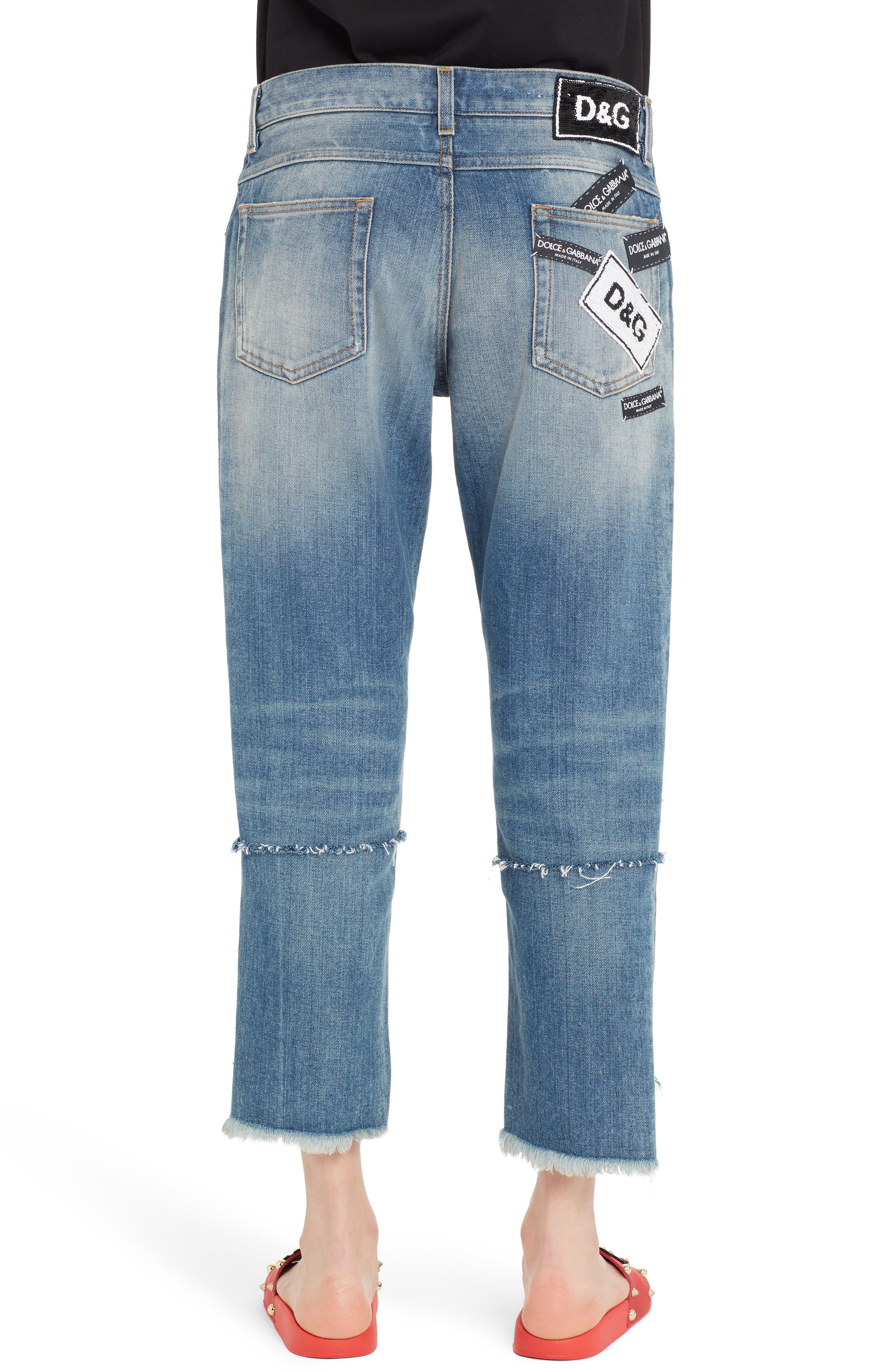 Ripped Crop Step Hem Jeans,                             Alternate thumbnail 2, color,                             Denim