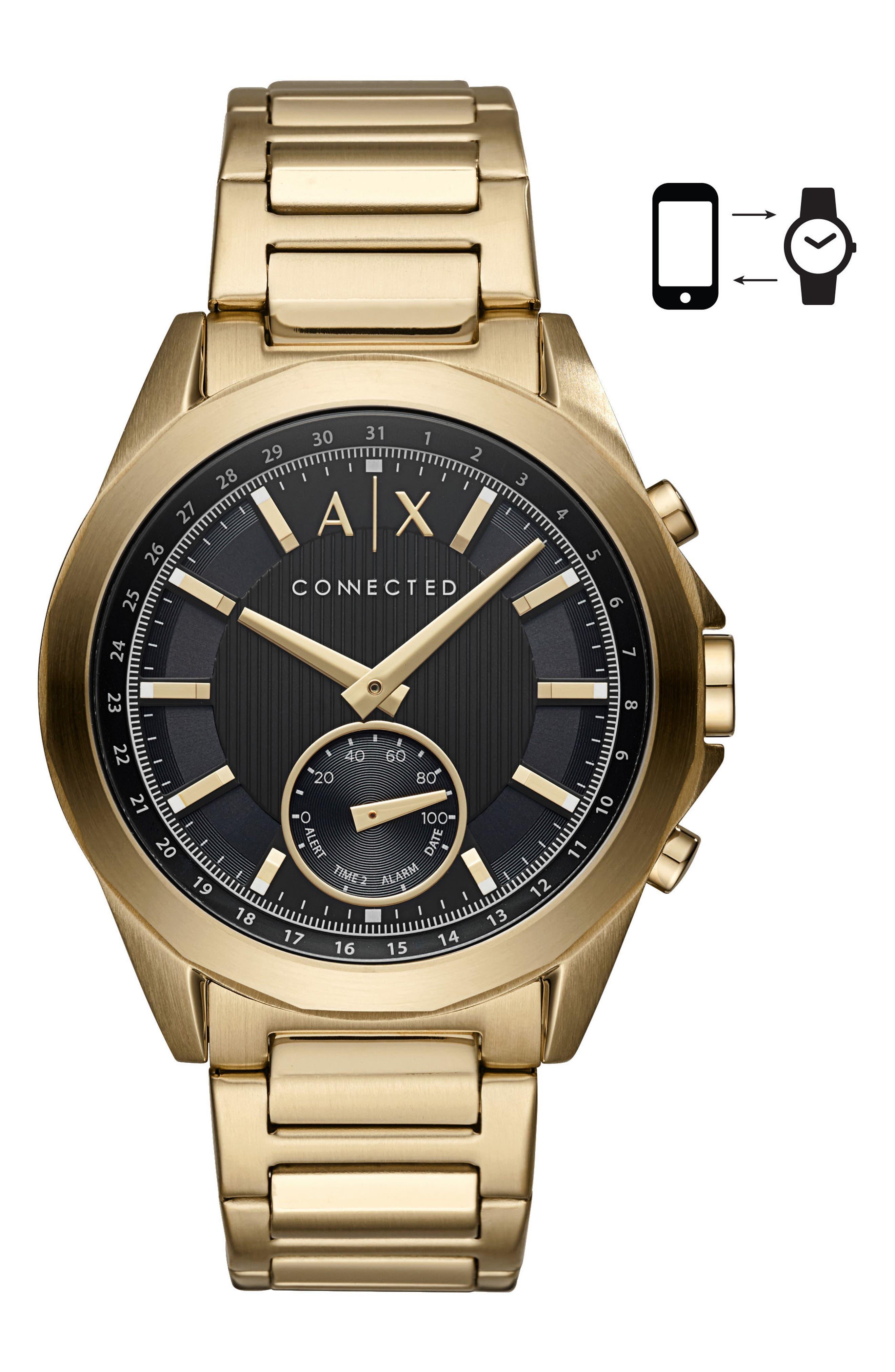 Connected Hybrid Bracelet Smartwatch, 44mm,                         Main,                         color, Black/ Gold