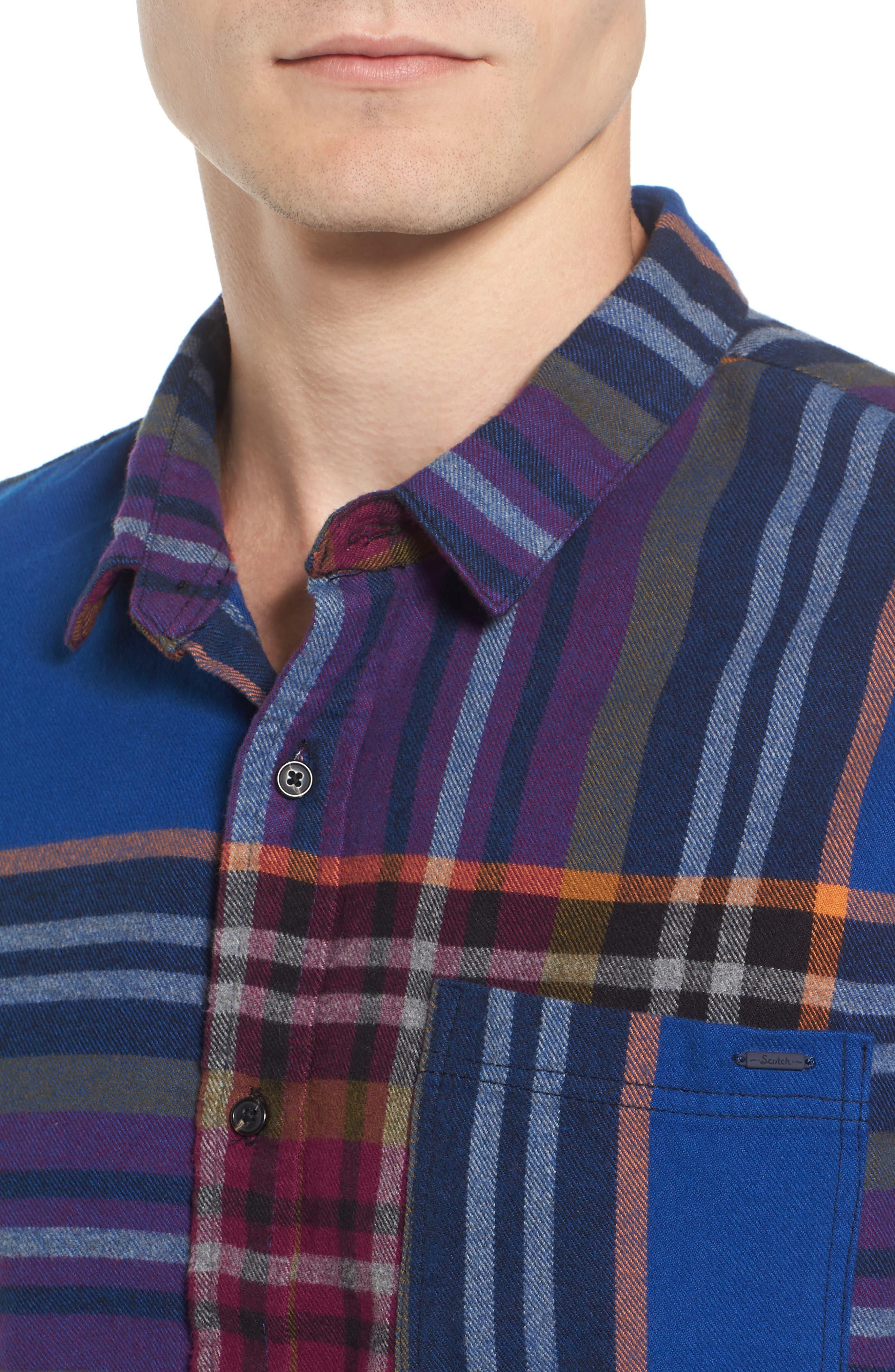Brushed Flannel Plaid Shirt,                             Alternate thumbnail 4, color,                             Blue