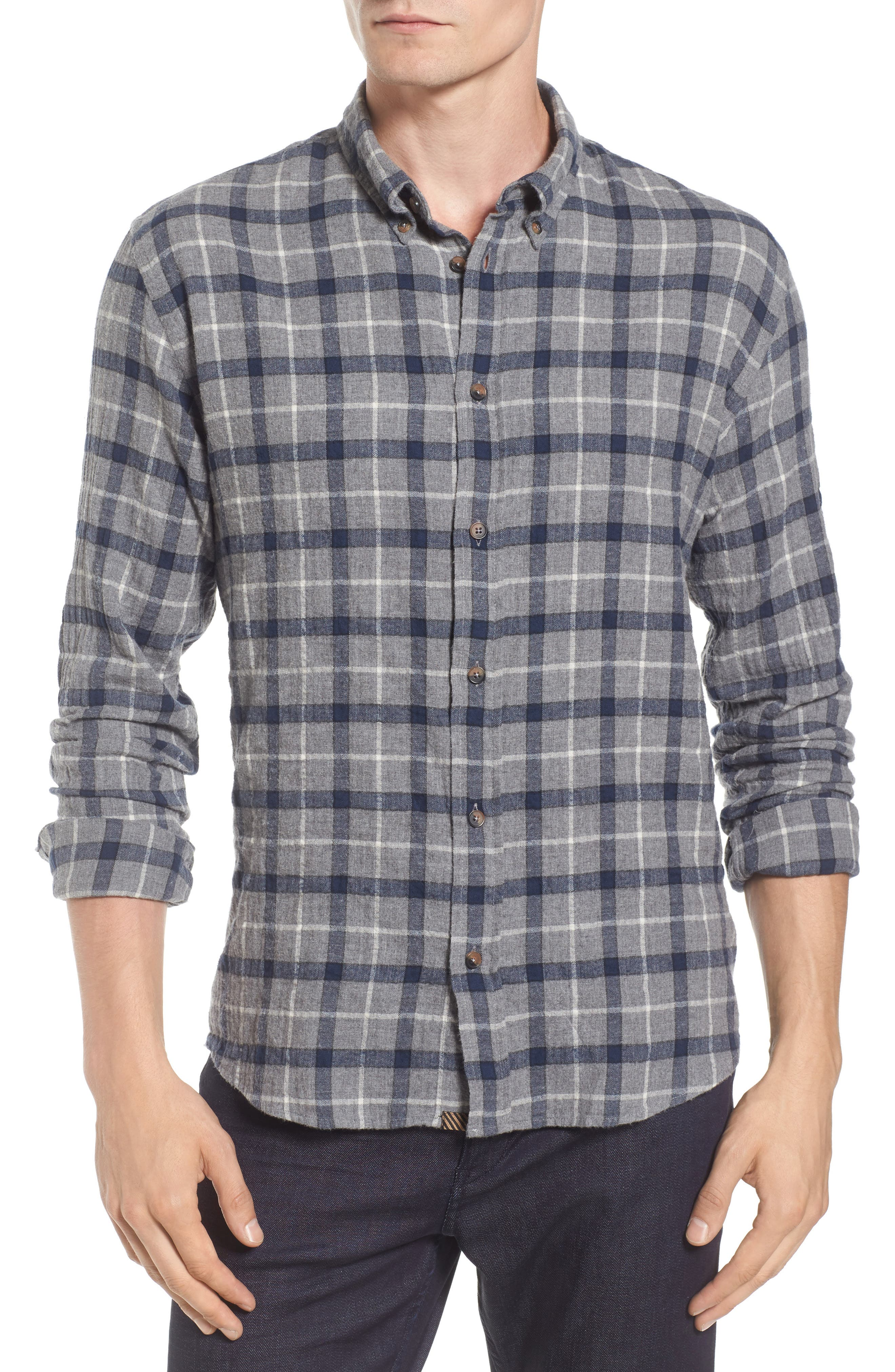 Murphy Slim Fit Plaid Sport Shirt,                             Main thumbnail 1, color,                             Grey/ Navy