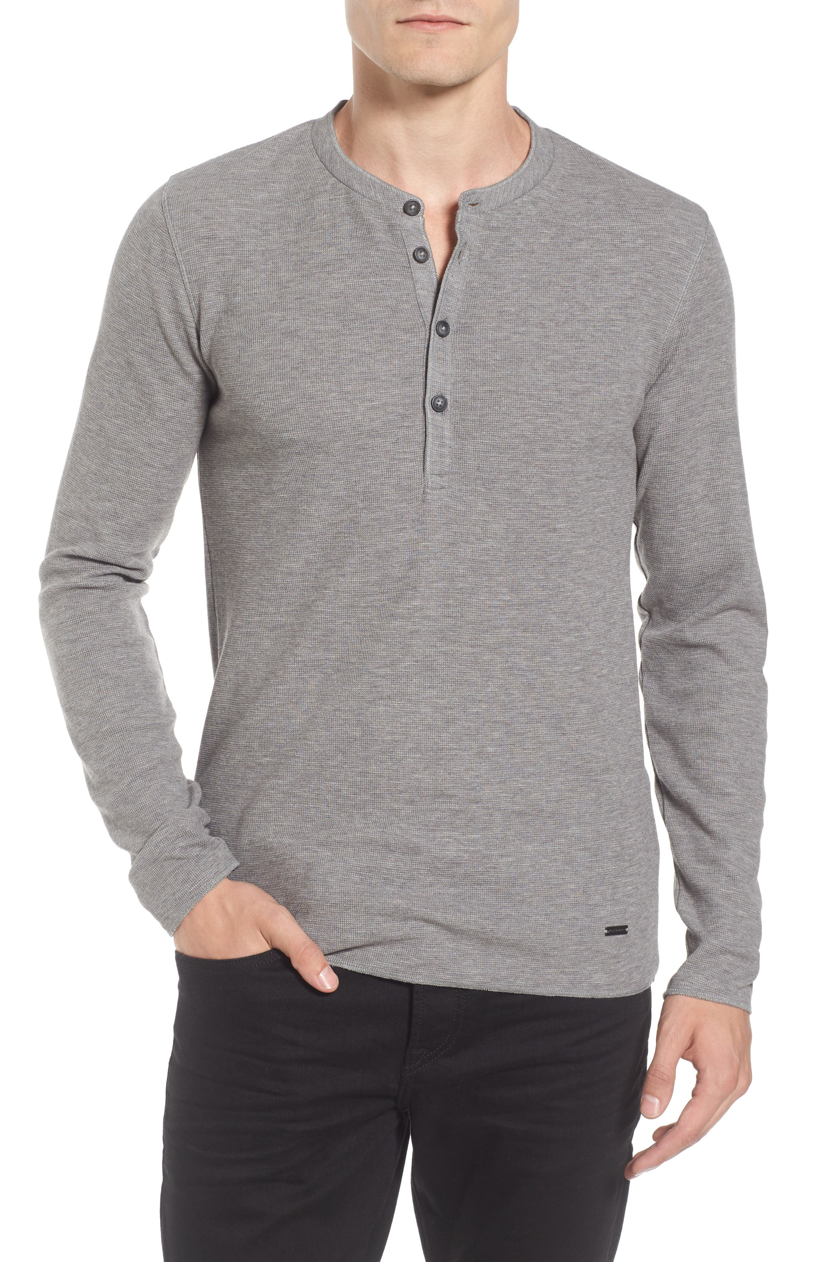 Topsider Thermal Henley,                         Main,                         color, Light Pastel/ Grey