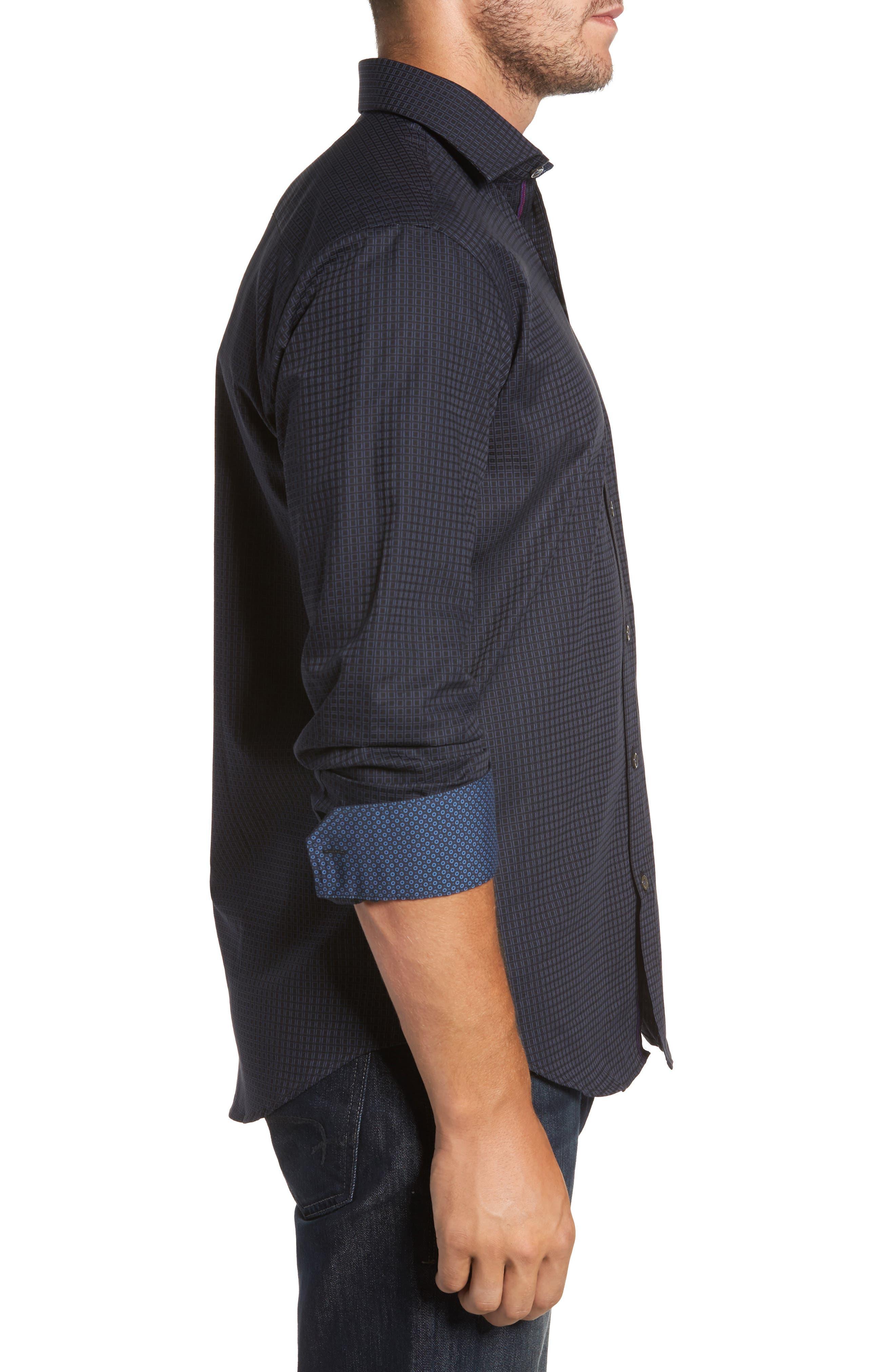 Trim Fit Box Print Sport Shirt,                             Alternate thumbnail 3, color,                             Black