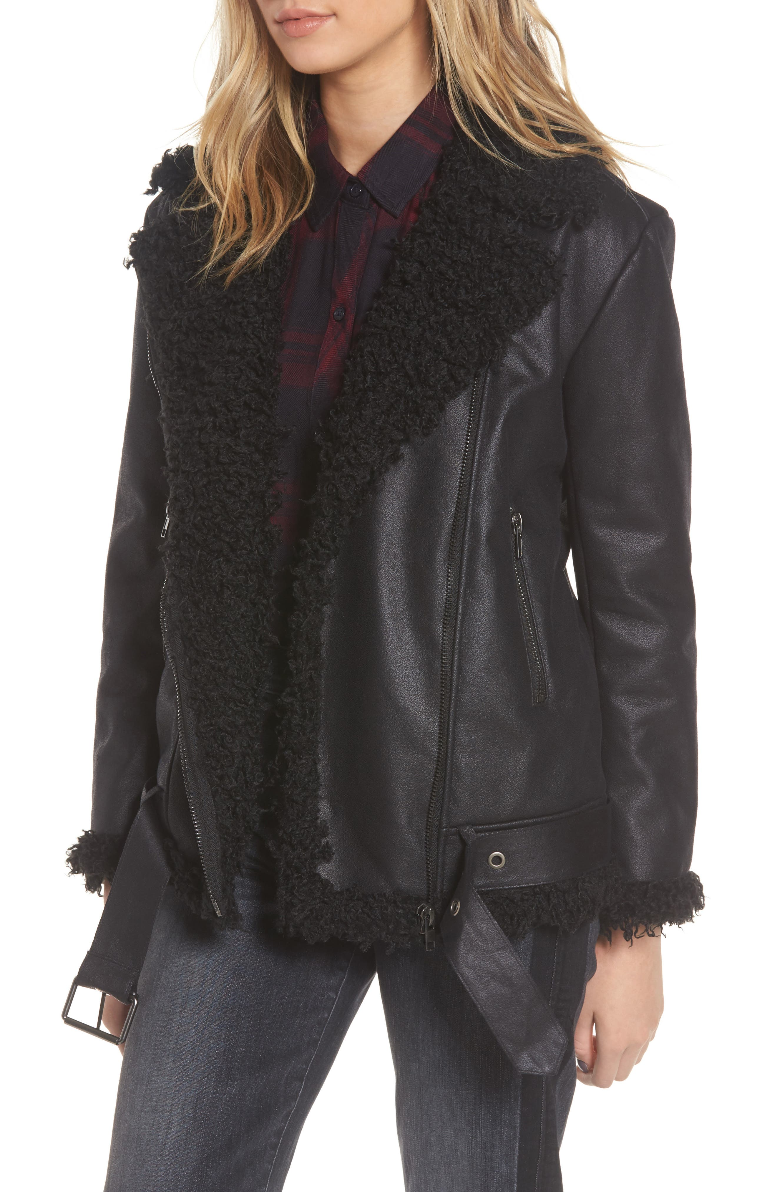 Bosworth Faux Shearling Jacket,                         Main,                         color, Black
