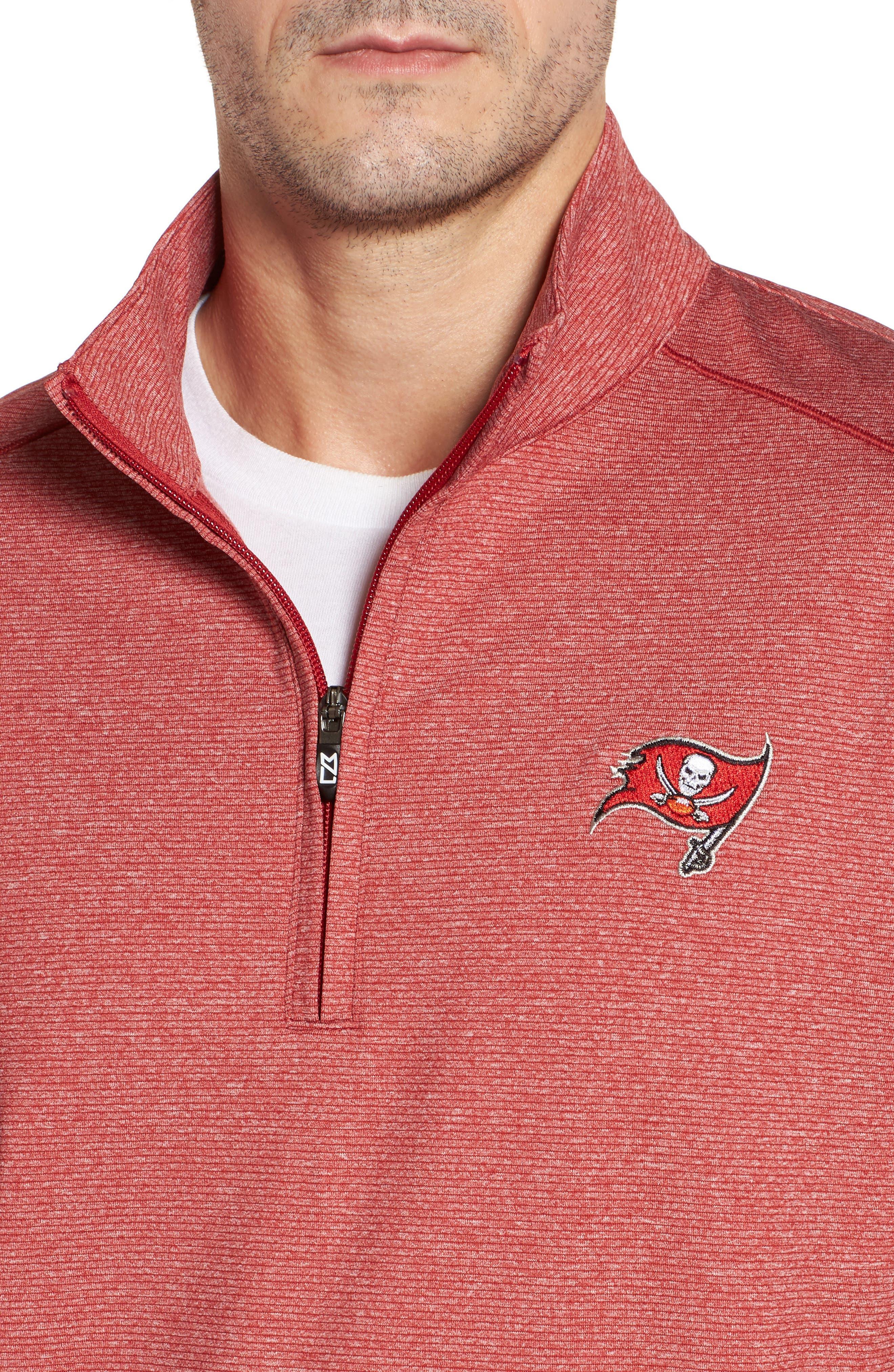 Shoreline - Tampa Bay Buccaneers Half Zip Pullover,                             Alternate thumbnail 4, color,                             Cardinal Red Heather