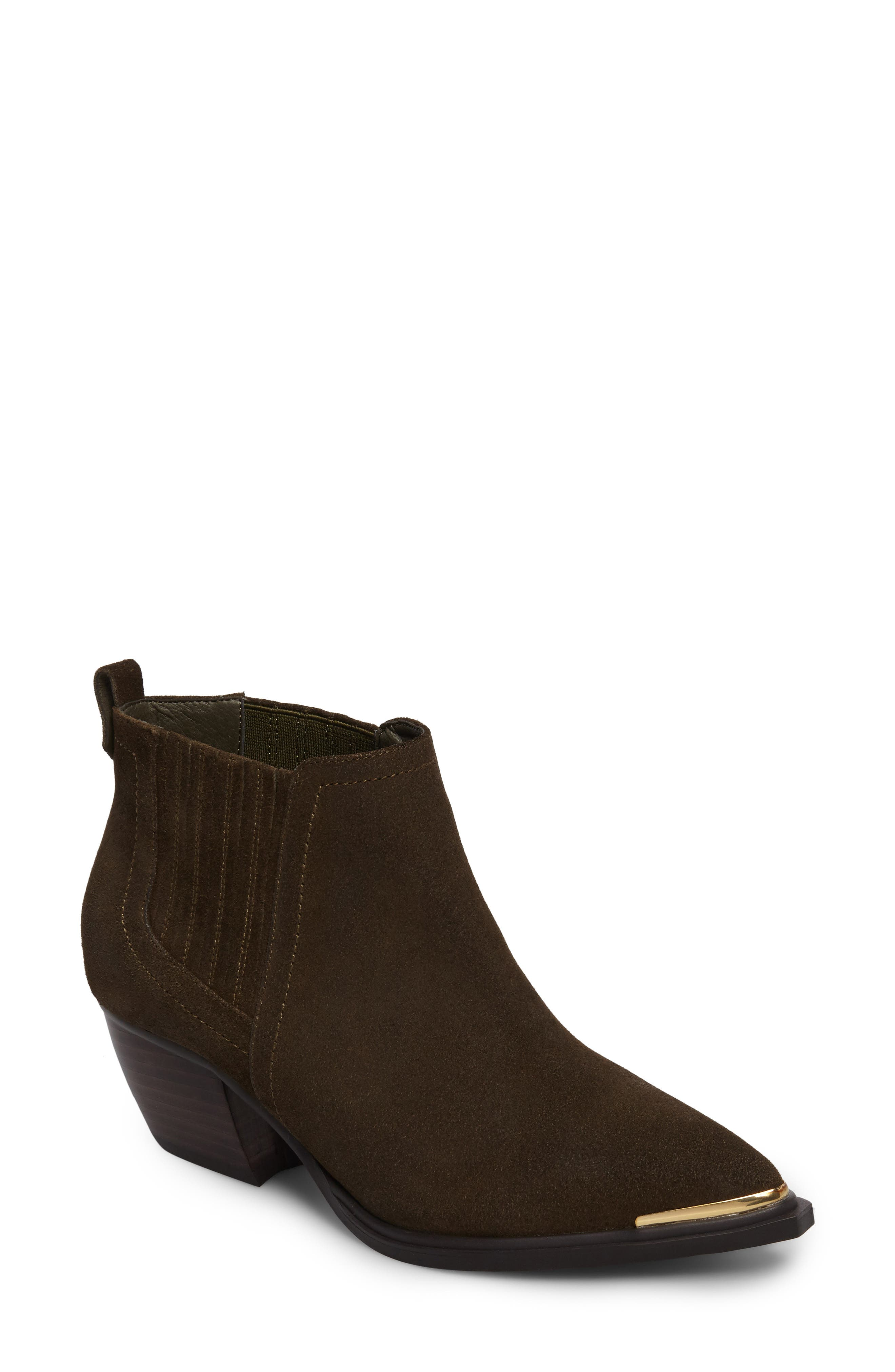 Cardinal Pointy Toe Bootie,                             Main thumbnail 1, color,                             Khaki Suede