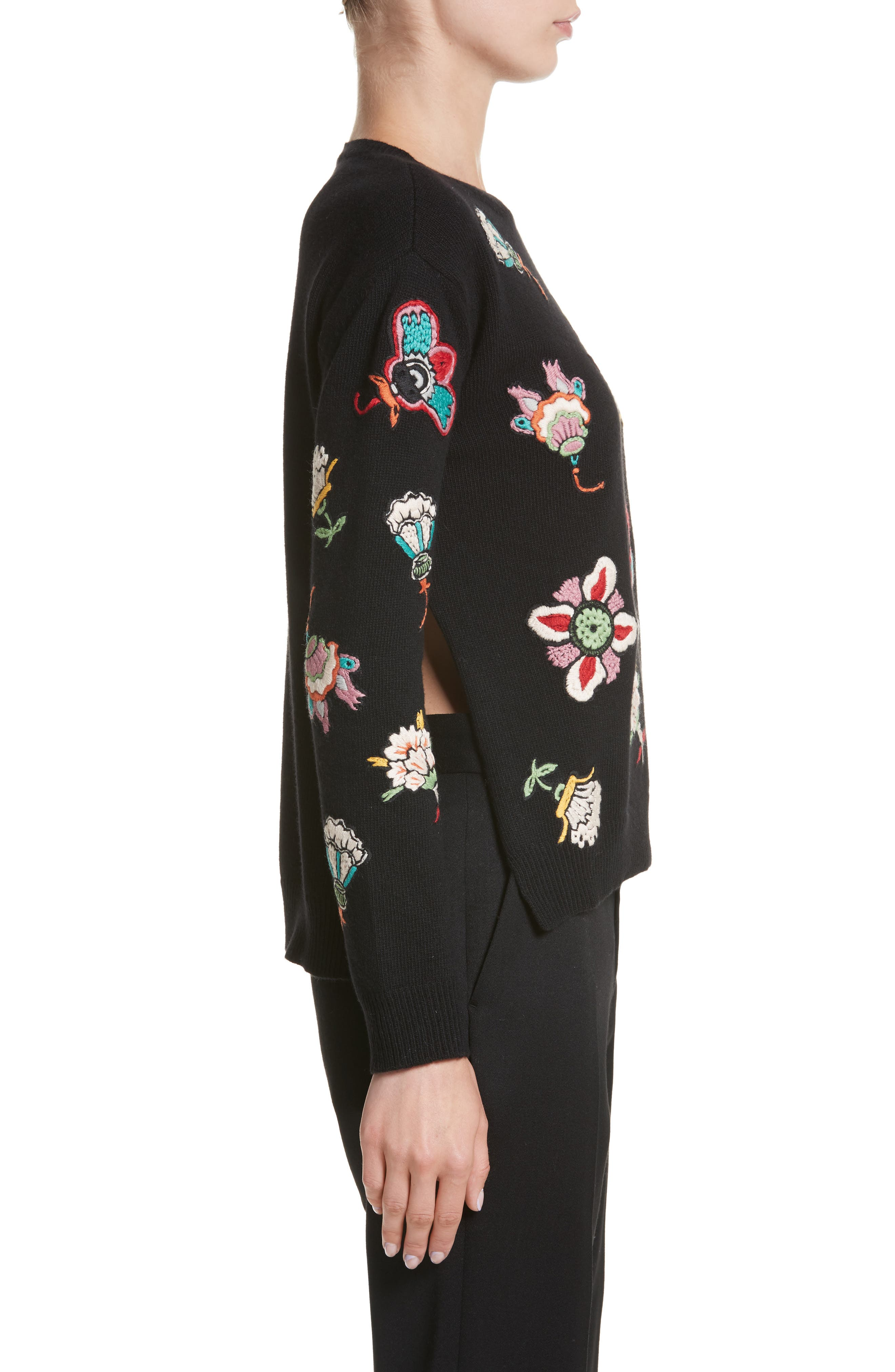 Floral Embroidered Wool Sweater,                             Alternate thumbnail 3, color,                             Black