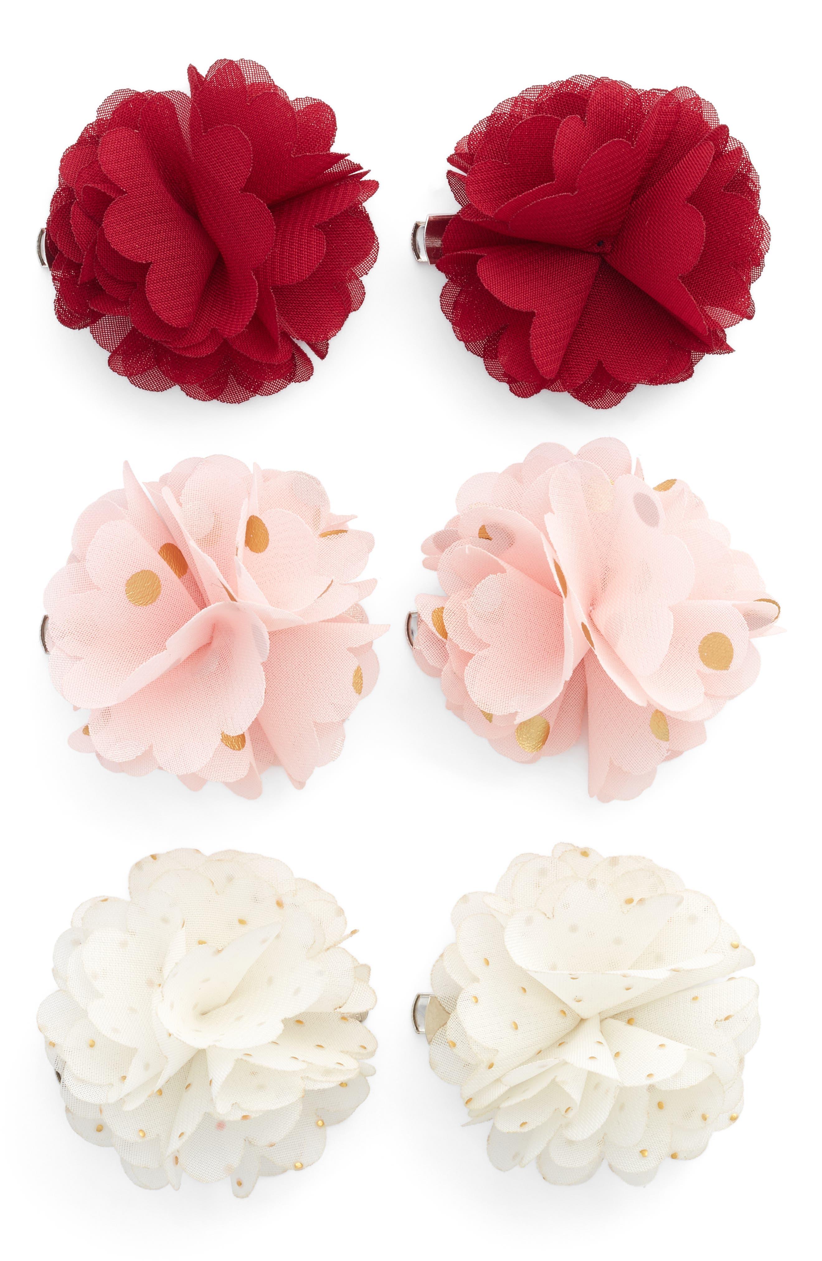 Alternate Image 1 Selected - Capelli New York 6-Pack Flower Hair Clips (Big Girls)