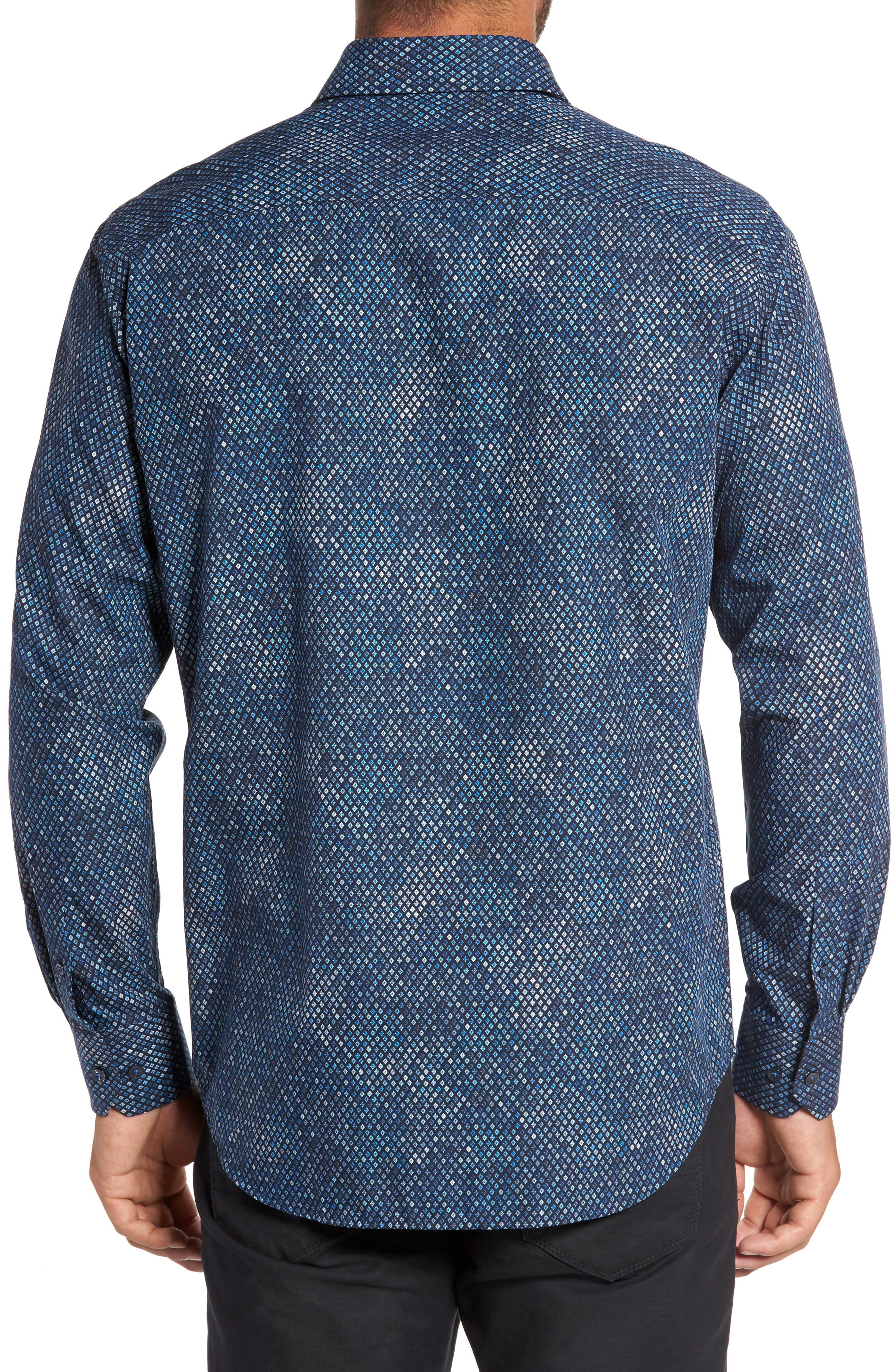 Classic Fit Print Sport Shirt,                             Alternate thumbnail 2, color,                             Midnight
