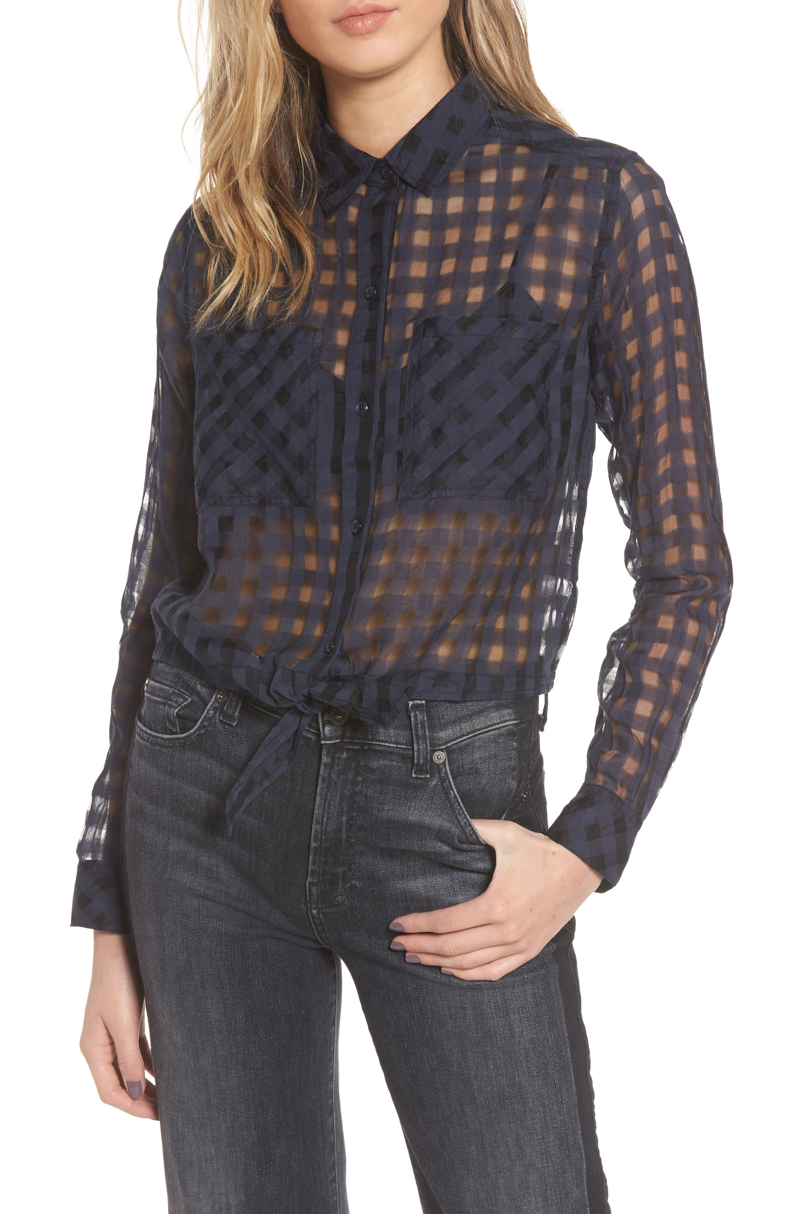Kelsey Sheer Tie Front Shirt,                         Main,                         color, Midnight Shadow Check