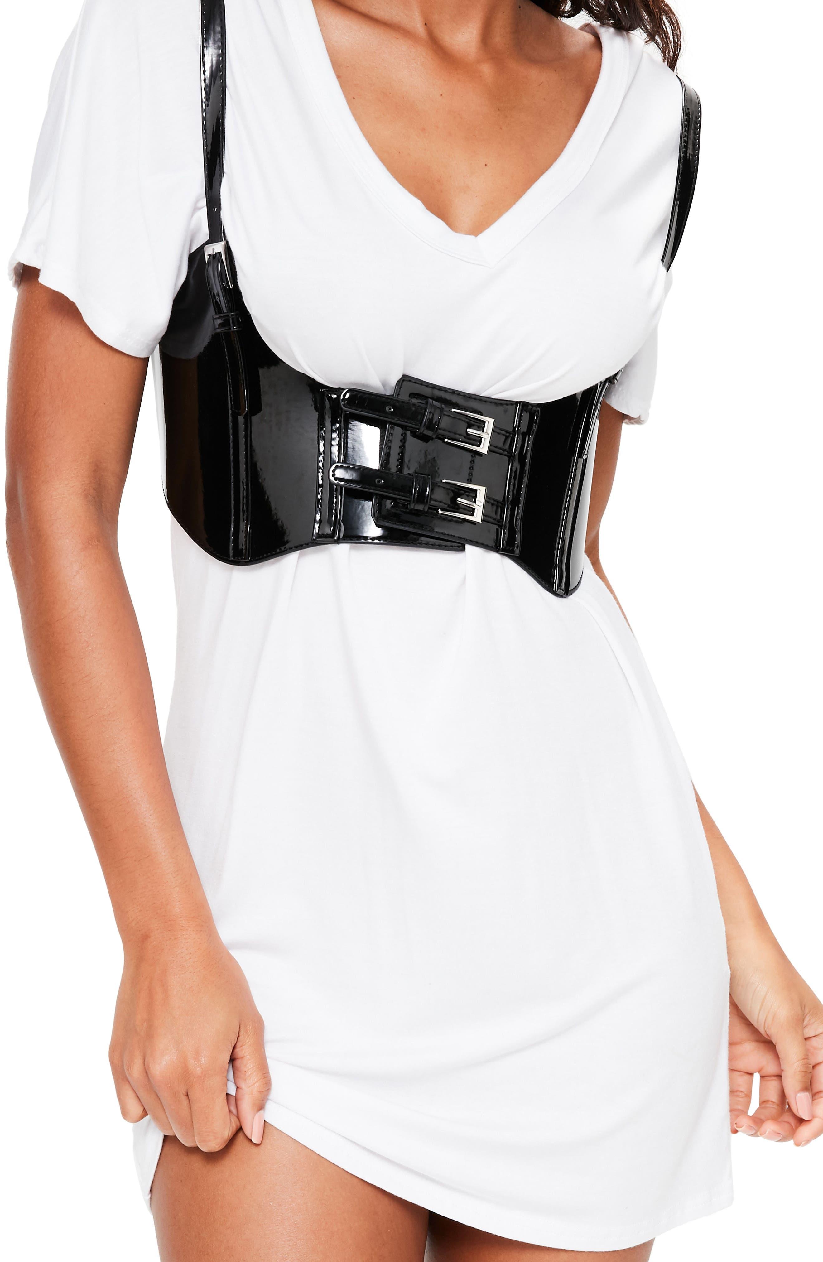 Faux Patent Harness Belt,                         Main,                         color, Black