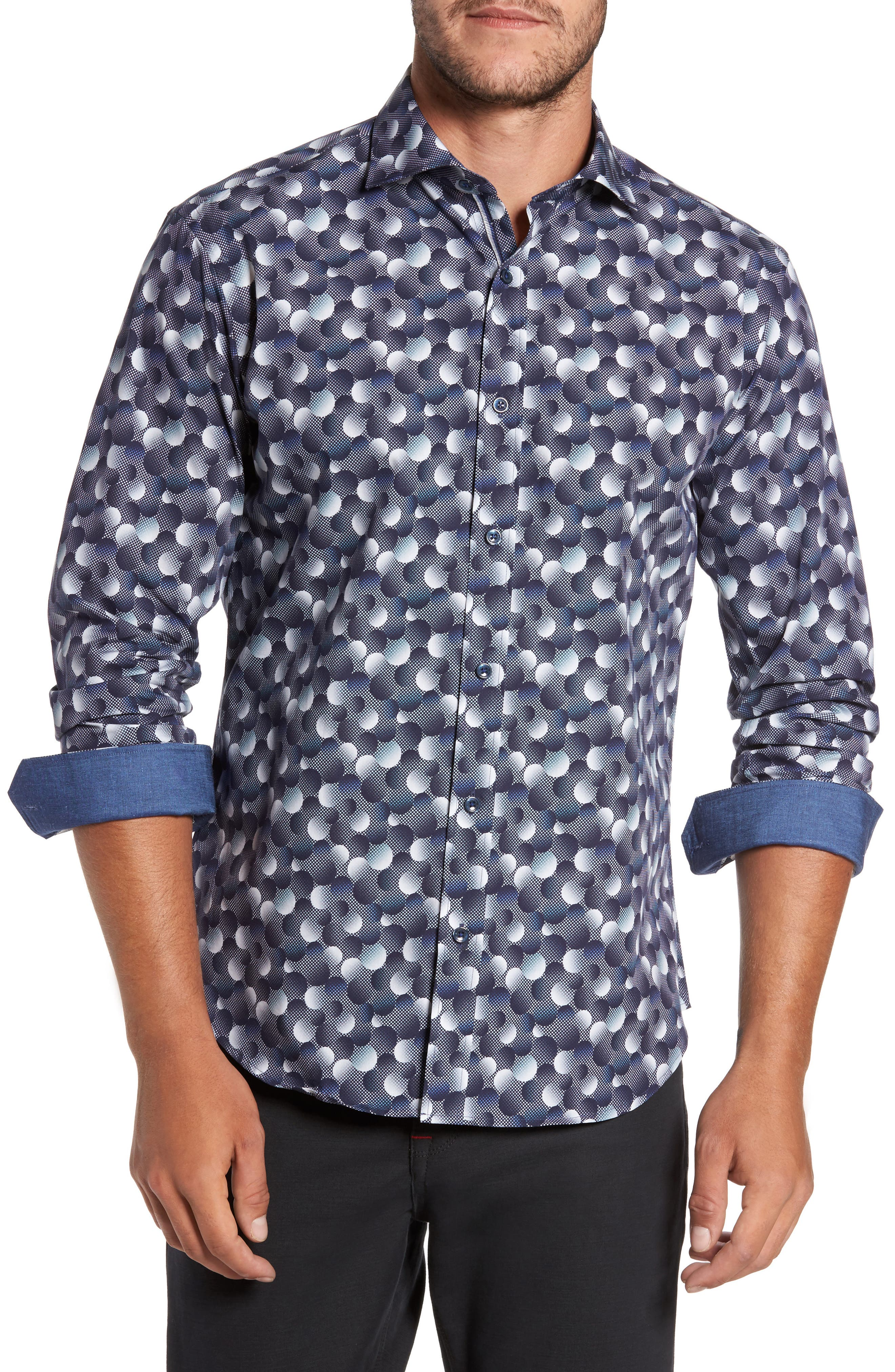 Trim Fit Circle Print Sport Shirt,                             Main thumbnail 1, color,                             Graphite