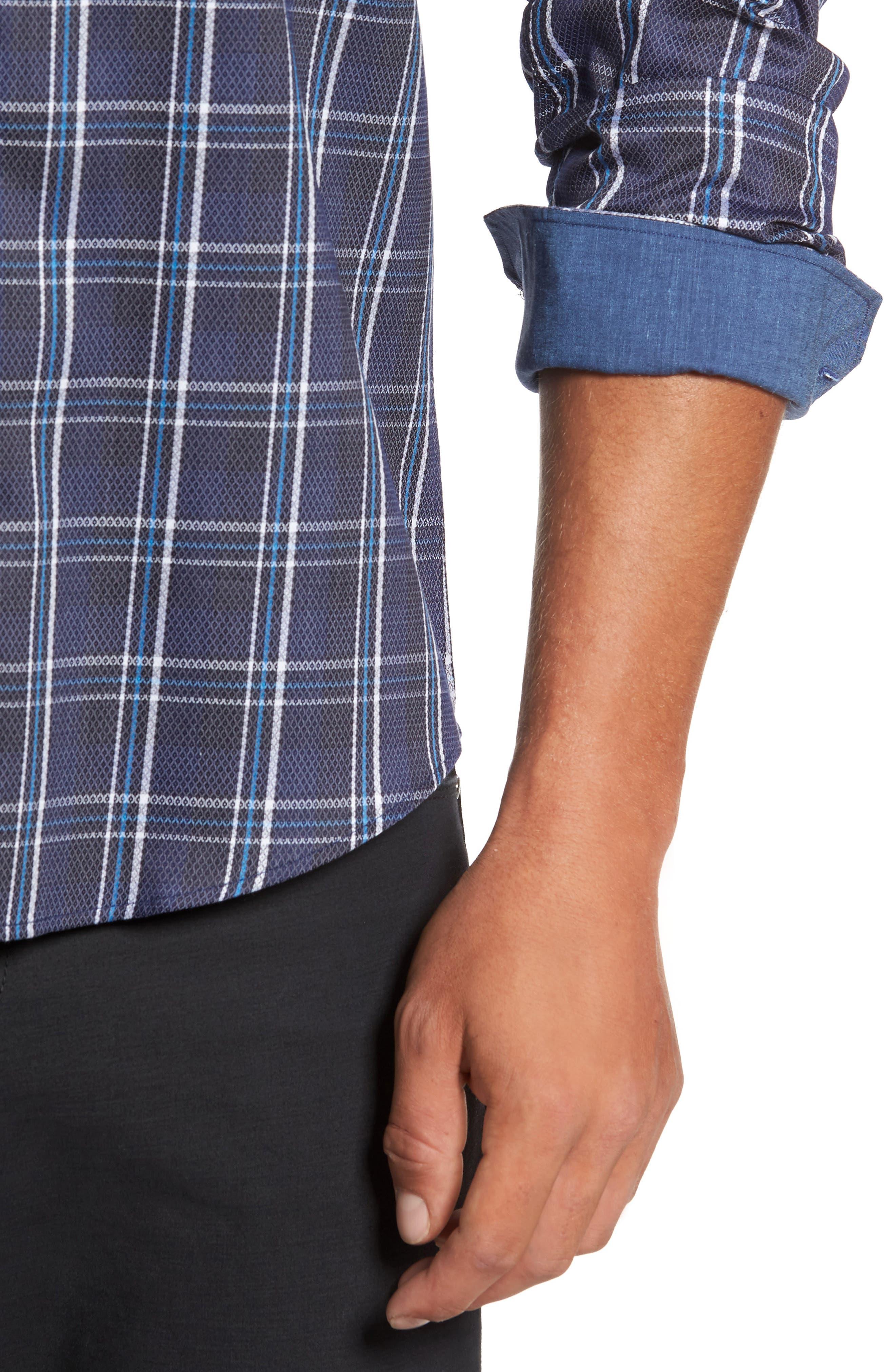 Alternate Image 4  - Bugatchi Trim Fit Diamond Weave Windowpane Sport Shirt