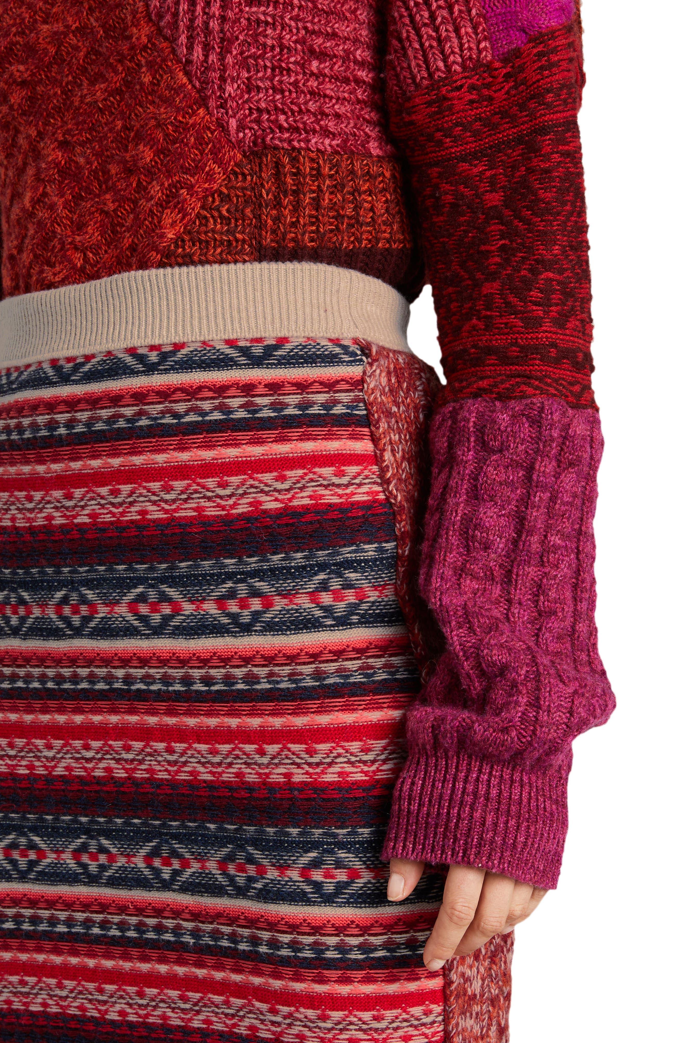 Knit Wool Blend Pencil Skirt,                             Alternate thumbnail 3, color,                             Multicolor