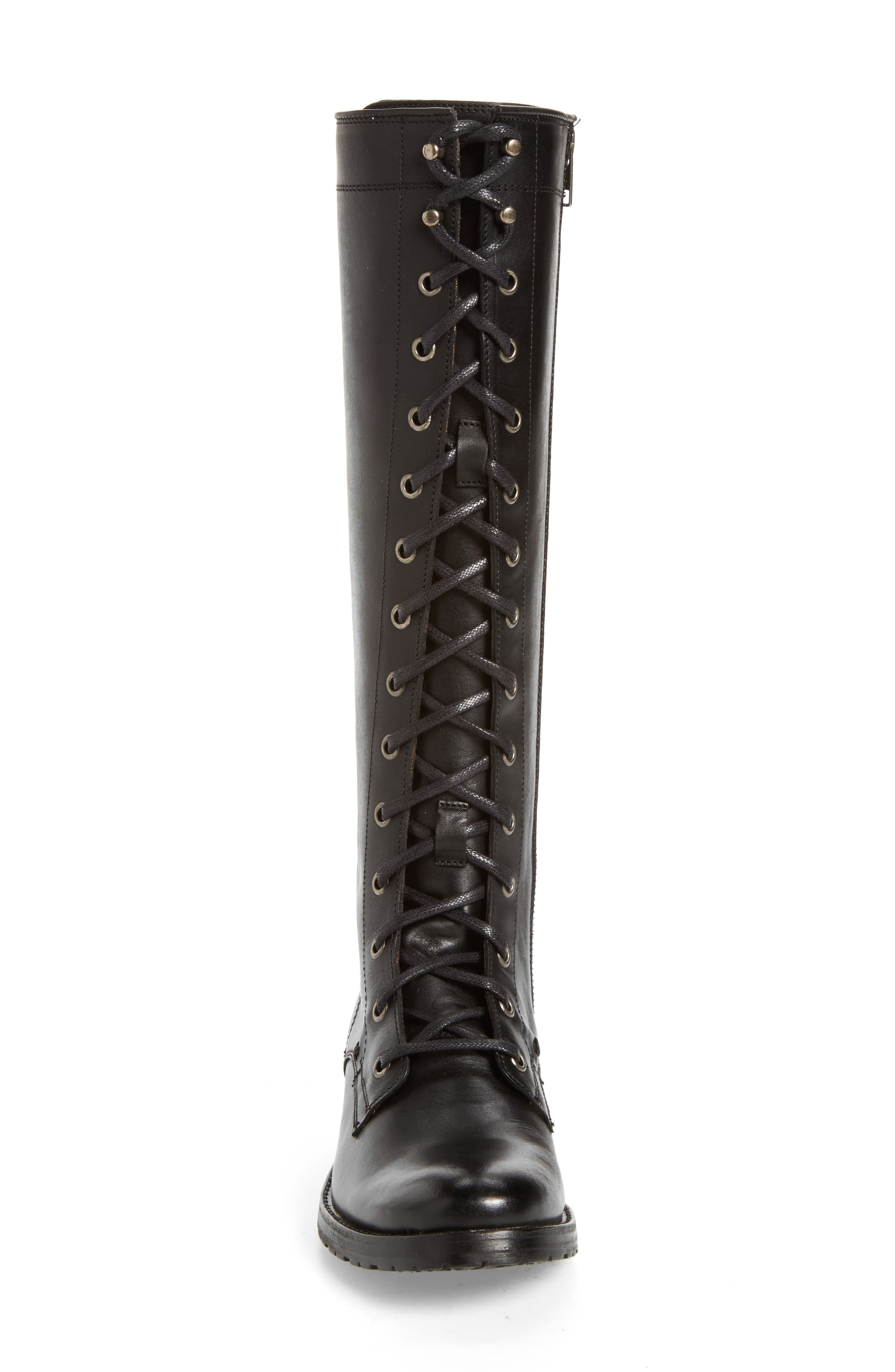 Melissa Tall Lace-Up Boot,                             Alternate thumbnail 4, color,                             Black Fabric
