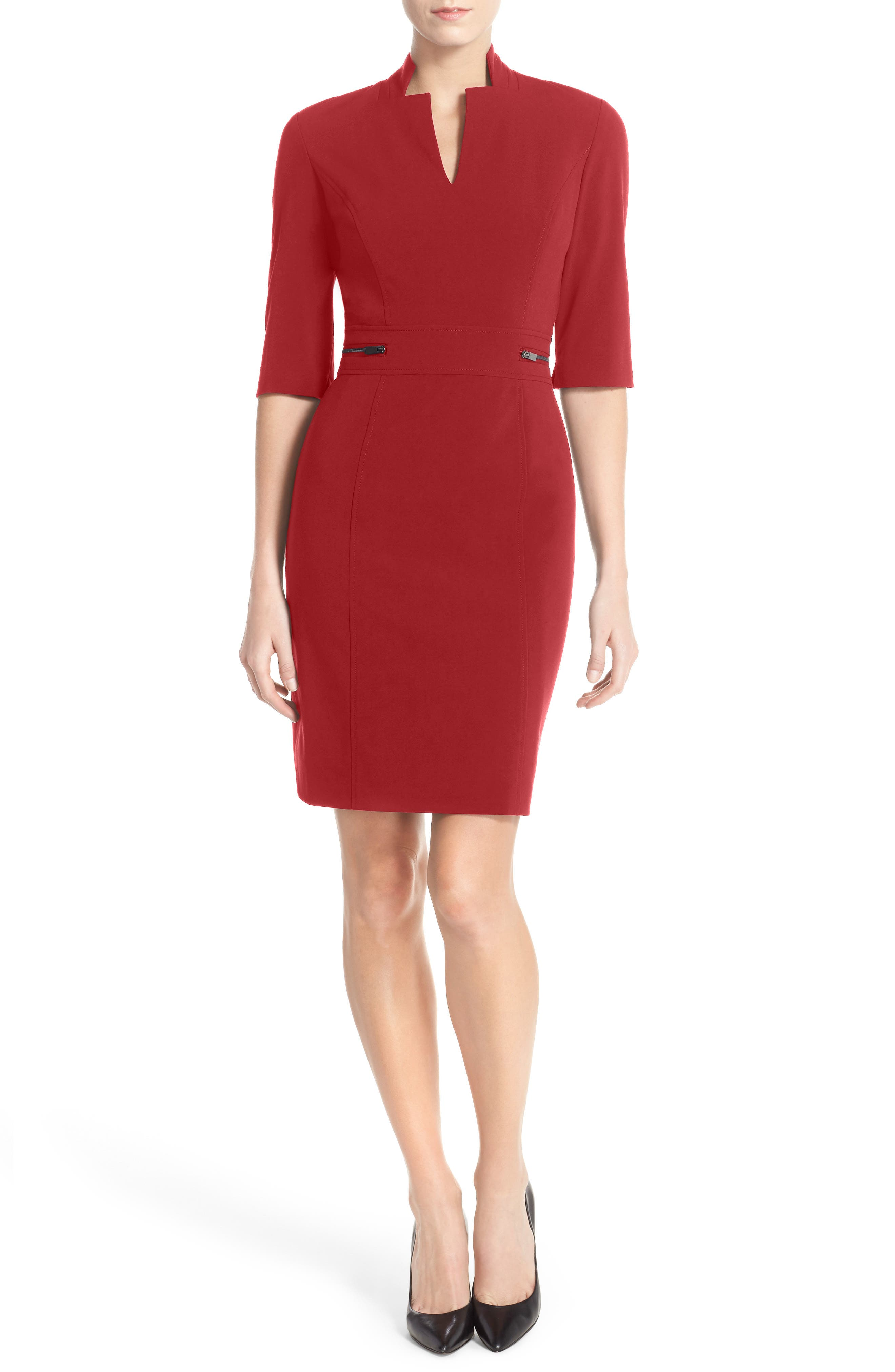 Red stretch lace sheath dress