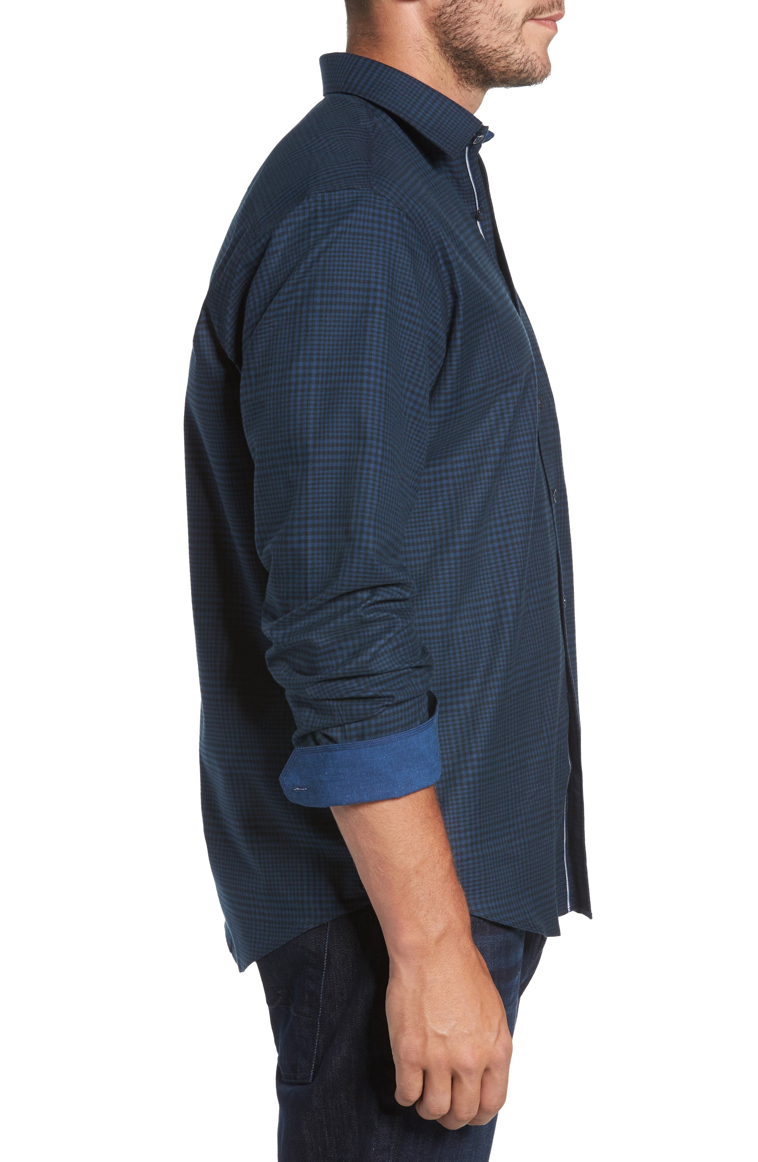Alternate Image 3  - Bugatchi Classic Fit Glen Plaid Sport Shirt