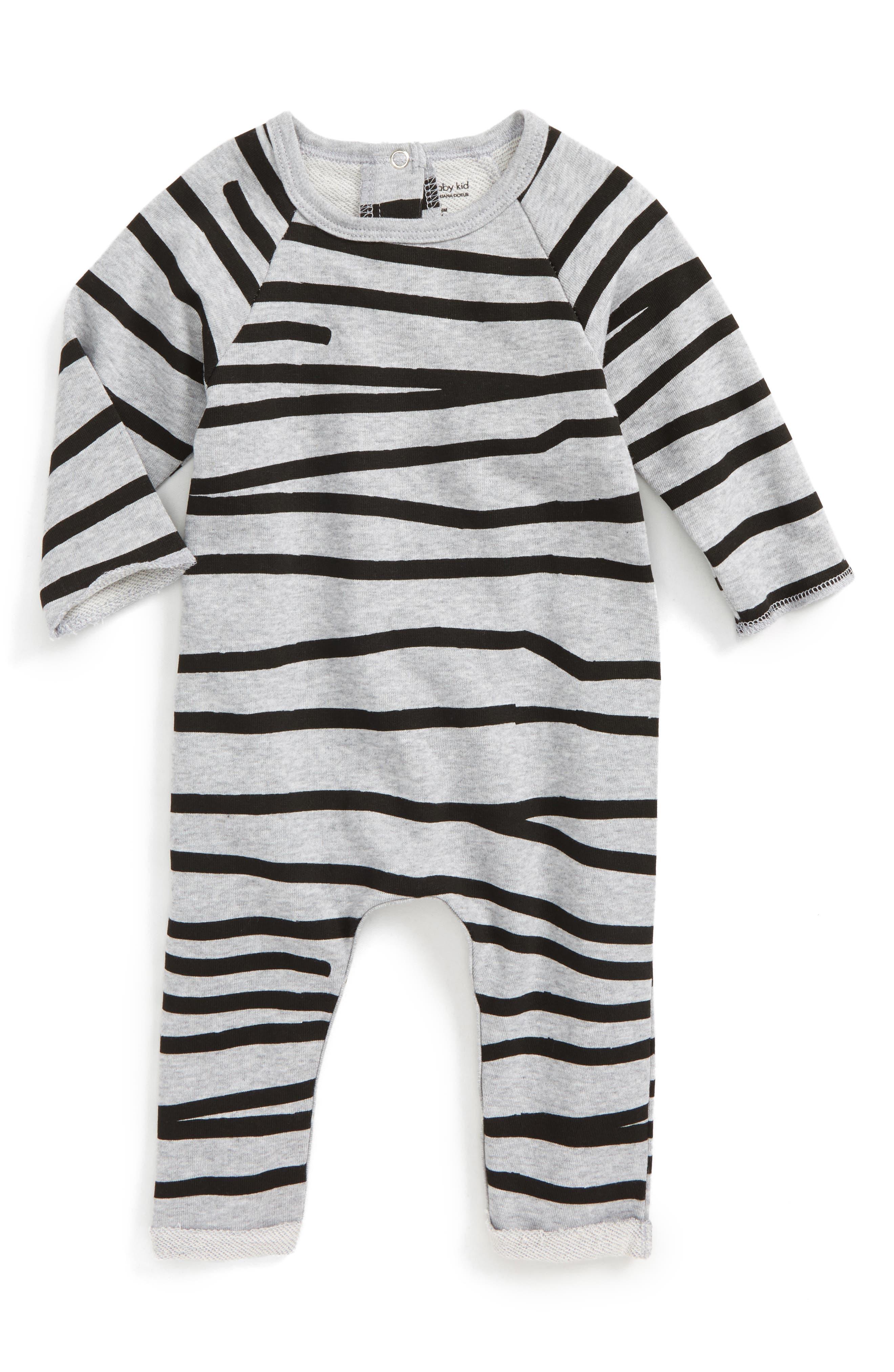 Stripe Romper,                             Main thumbnail 1, color,                             Grey Marle/ Black