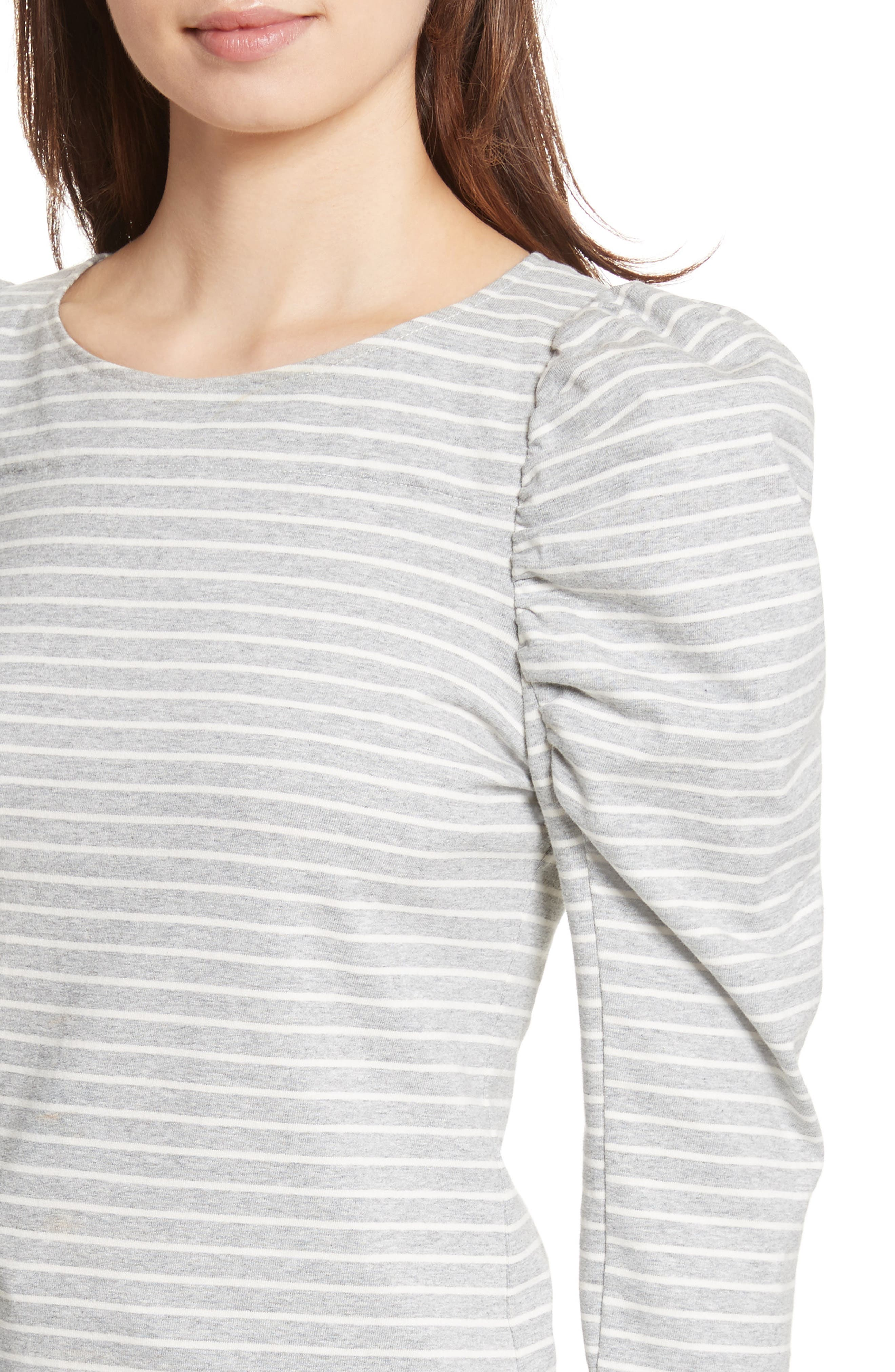 Stripe Jersey Top,                             Alternate thumbnail 5, color,                             Heather Grey Combo