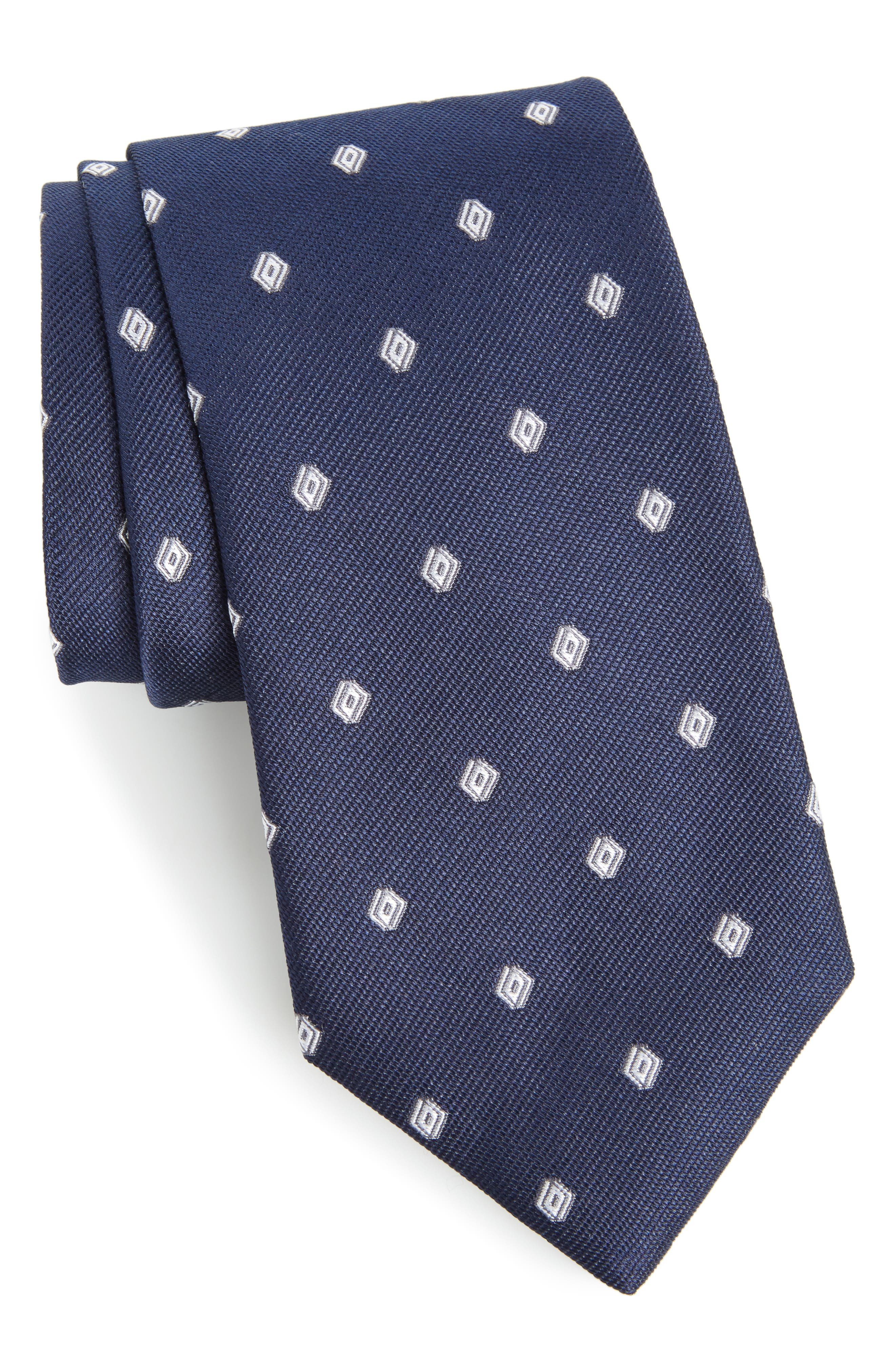Calibrate Kaleri Neat Diamond Grid Silk Tie