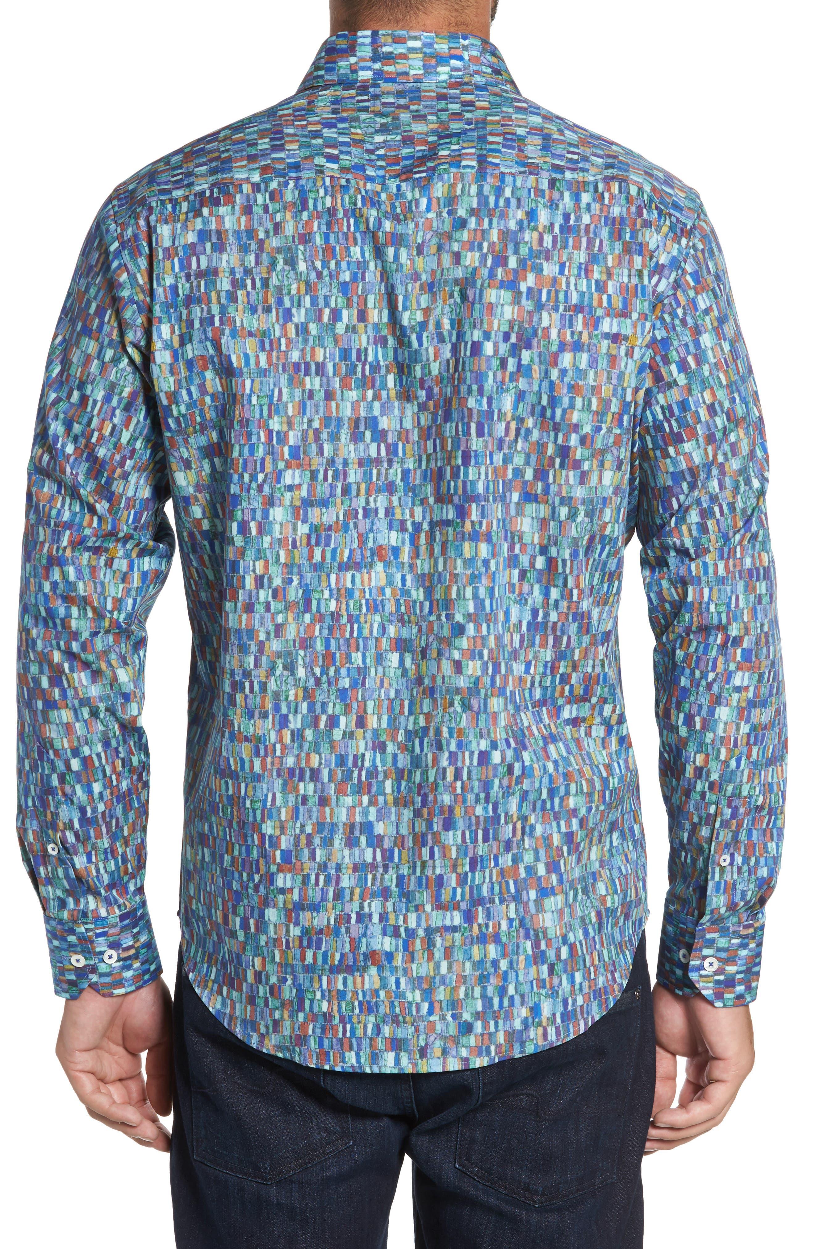 Alternate Image 2  - Bugatchi Classic Fit Mosaic Print Sport Shirt
