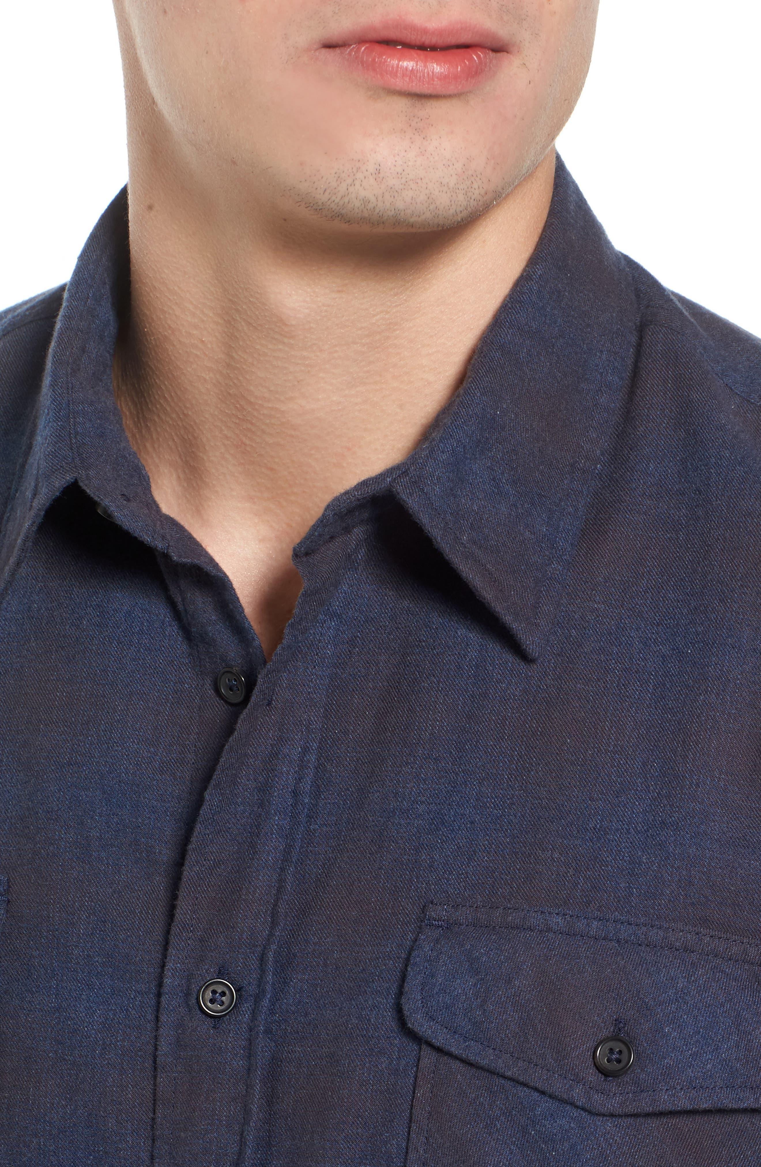 Graham Standard Fit Check Sport Shirt,                             Alternate thumbnail 4, color,                             Navy