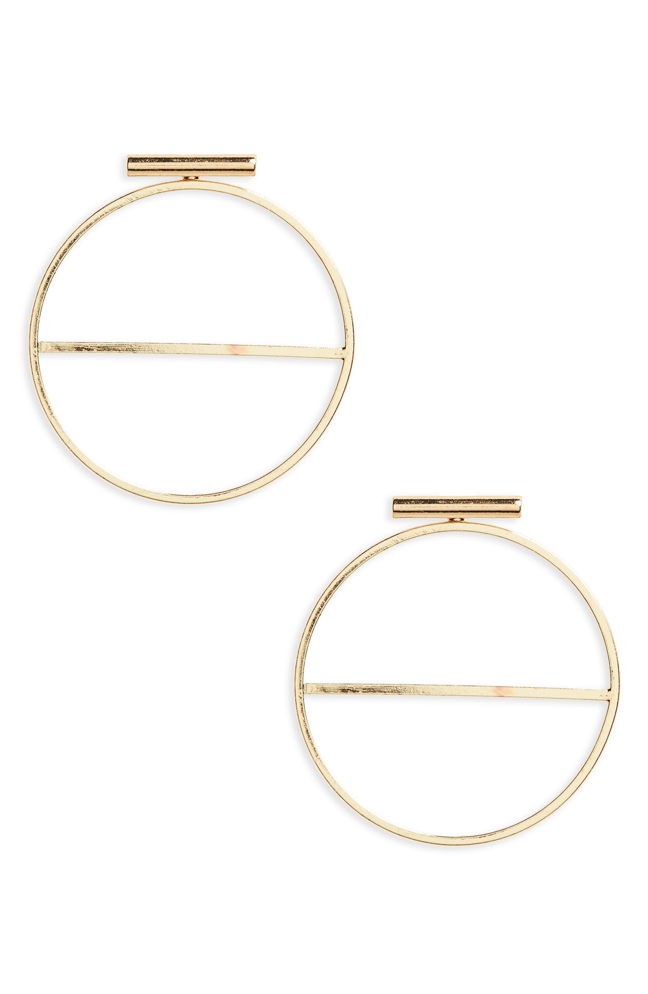Circle Bar Earrings,                         Main,                         color, Gold