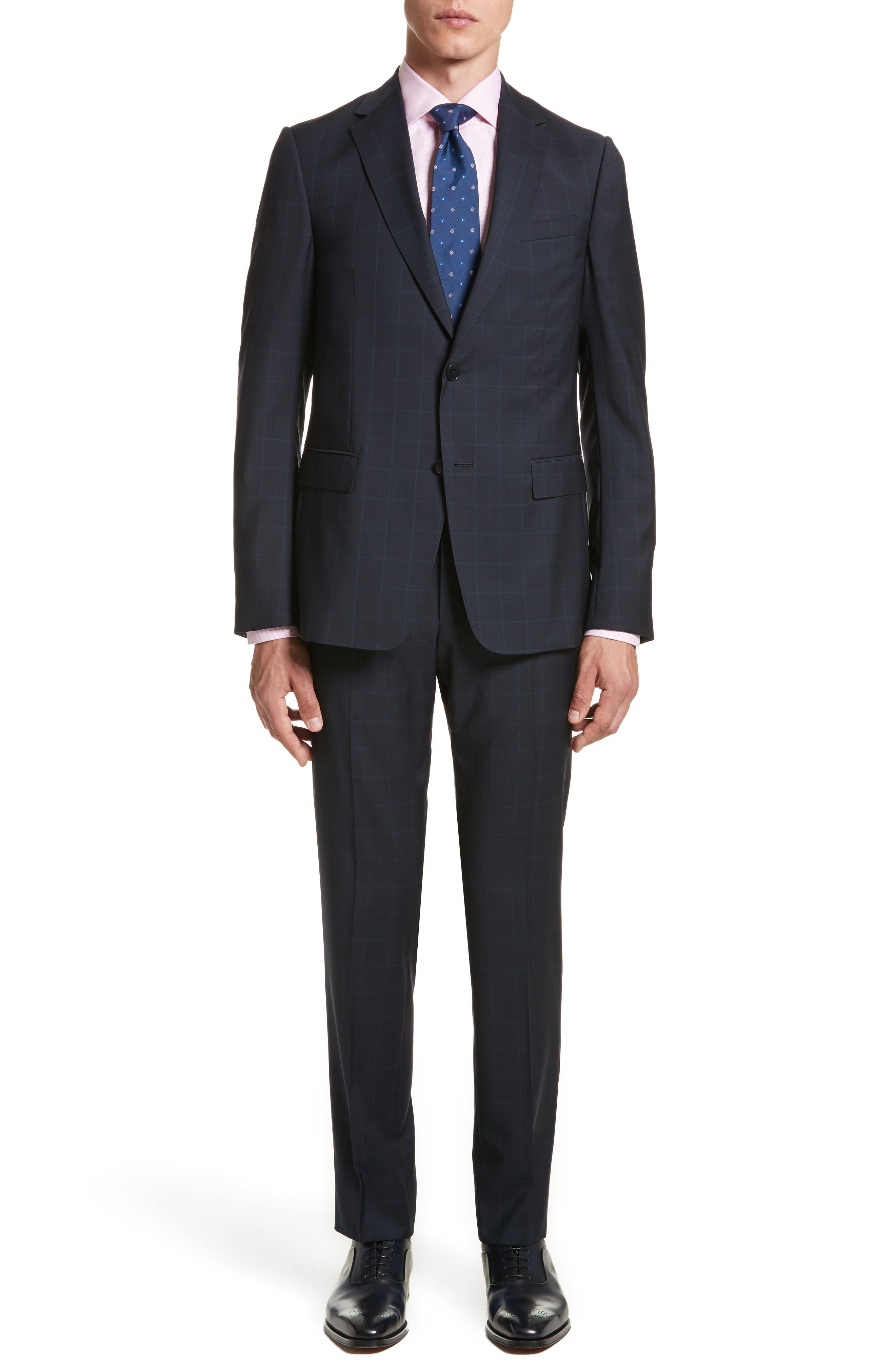 Classic Fit Windowpane Wool Suit,                         Main,                         color, Navy Check