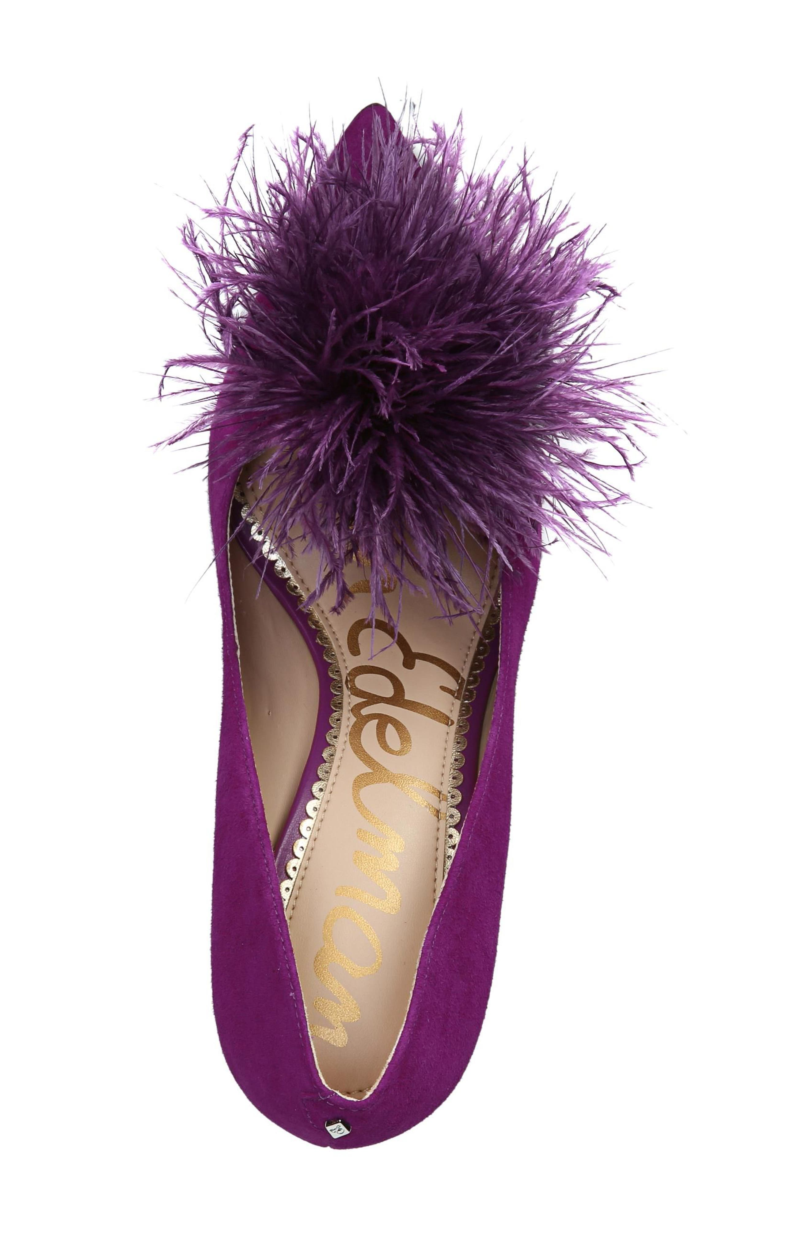 Haide Feather Pompom Pump,                             Alternate thumbnail 6, color,                             Laser Purple Leather