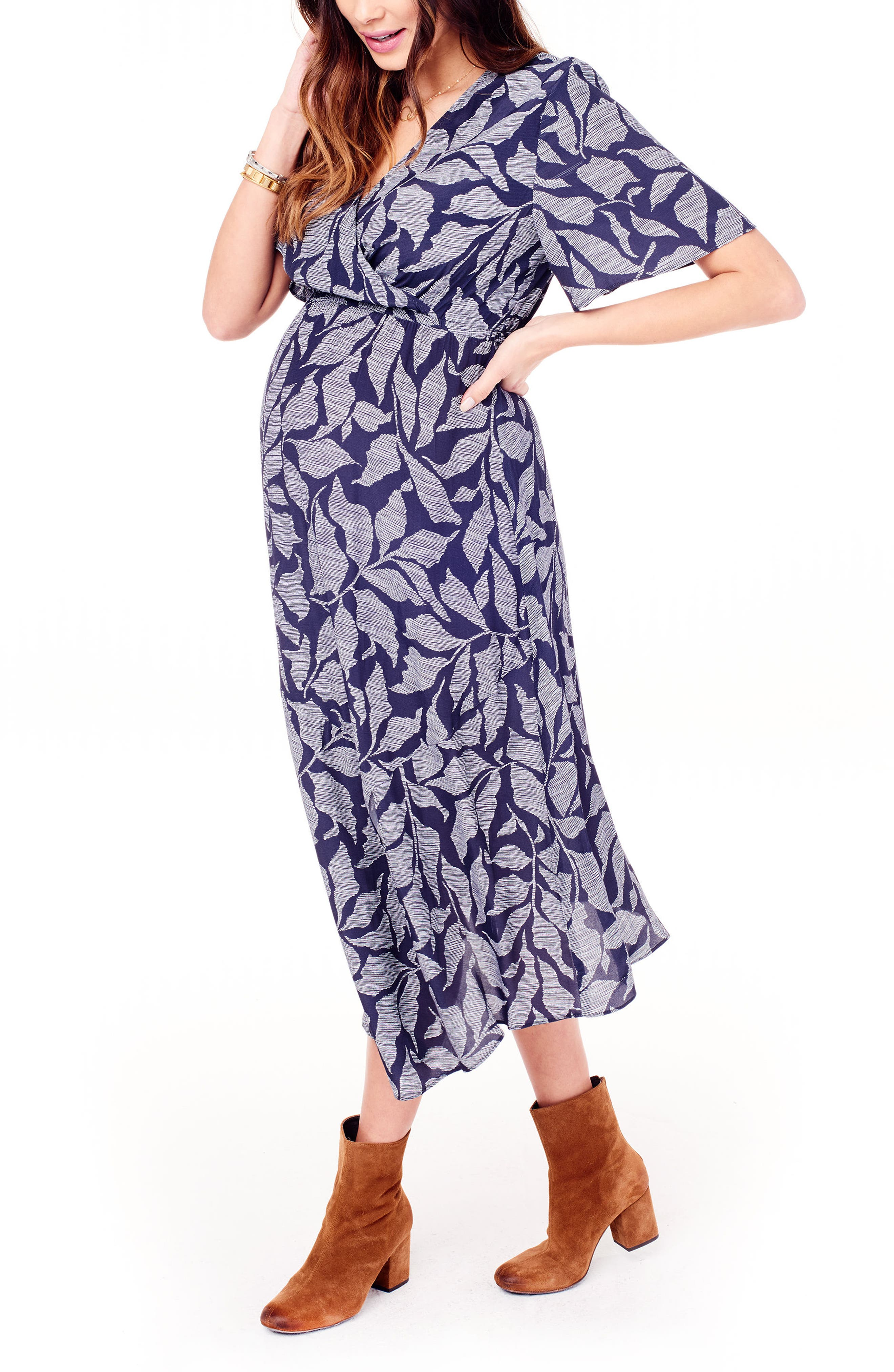 Flutter Sleeve Faux Wrap Maternity Dress,                             Alternate thumbnail 3, color,                             Navy Leaf Print