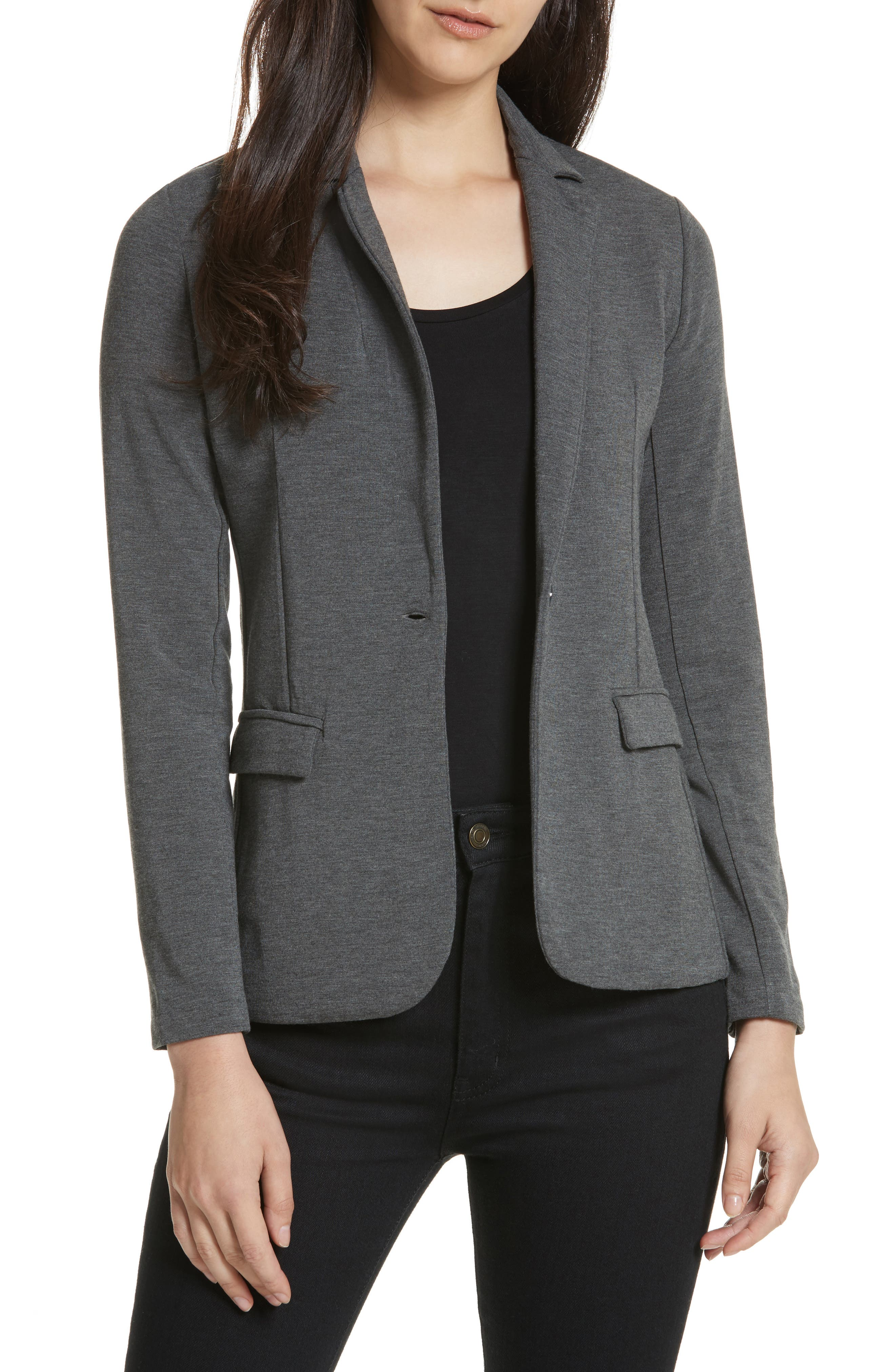 French Terry Blazer,                             Main thumbnail 1, color,                             Flanelle