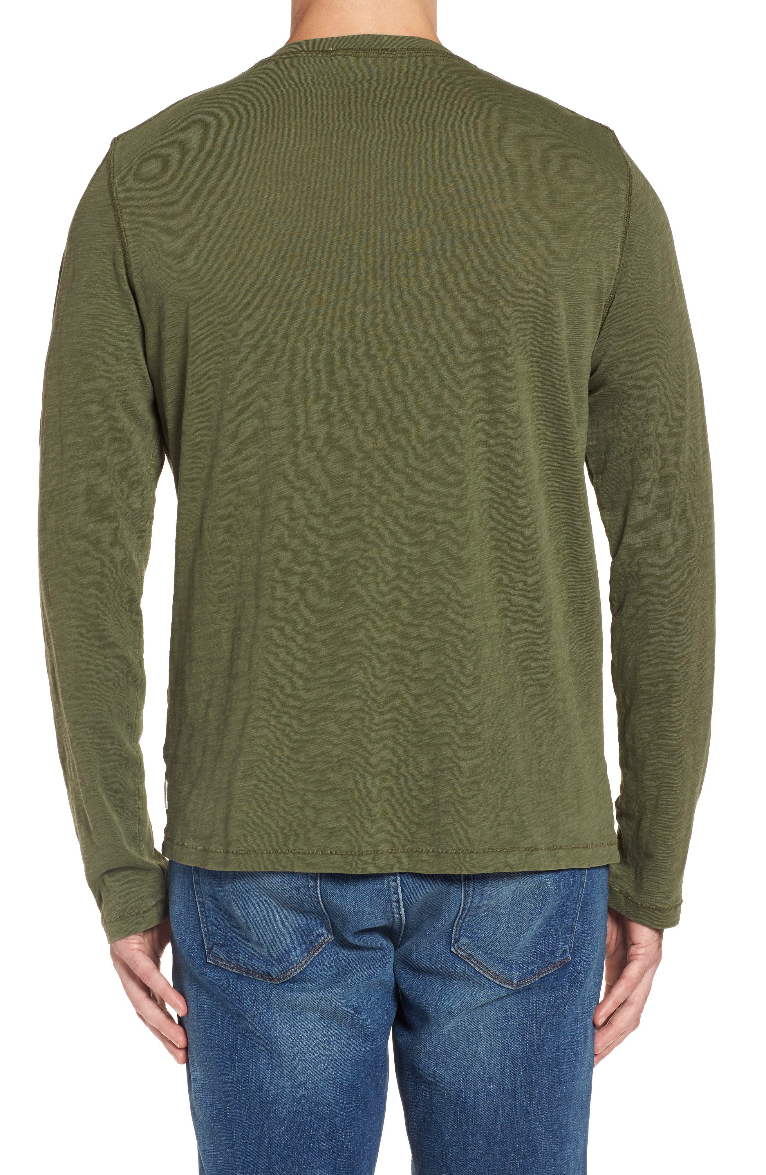 Long Sleeve Henley T-Shirt,                             Alternate thumbnail 2, color,                             Olive