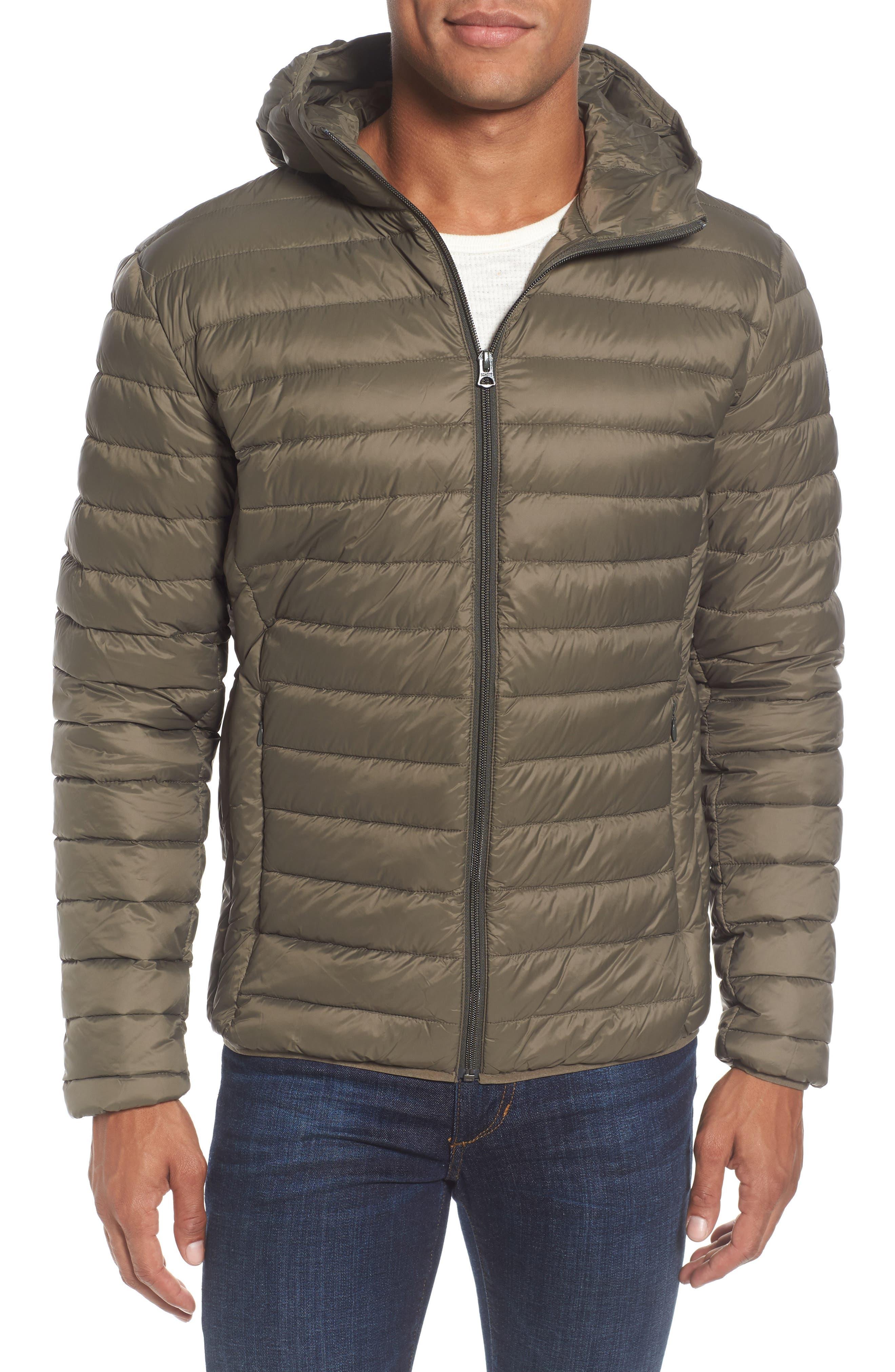Zip Front Down Jacket,                         Main,                         color, Olive