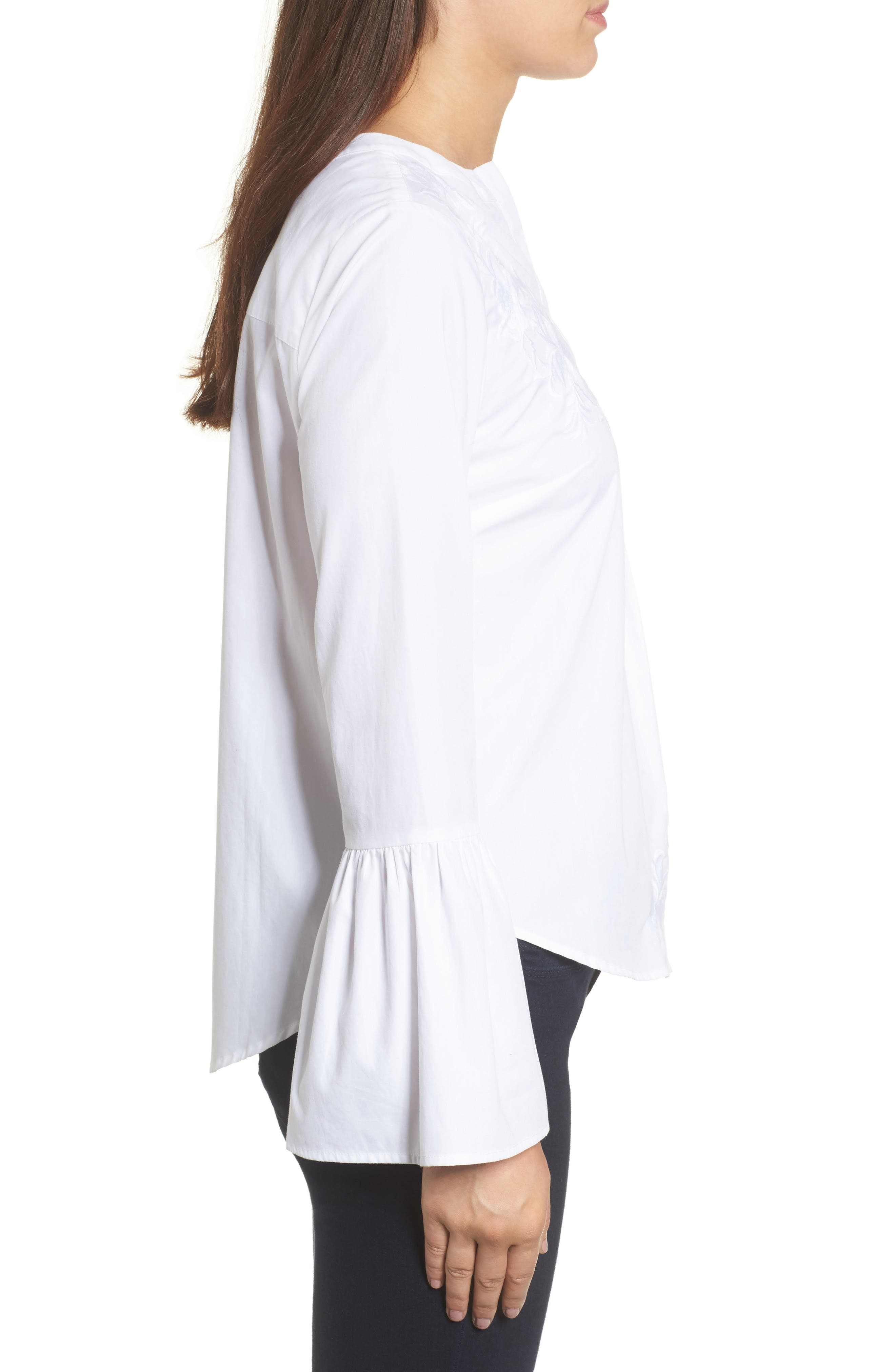 Embroidered Bell Sleeve Top,                             Alternate thumbnail 3, color,                             White Embroidered Pattern