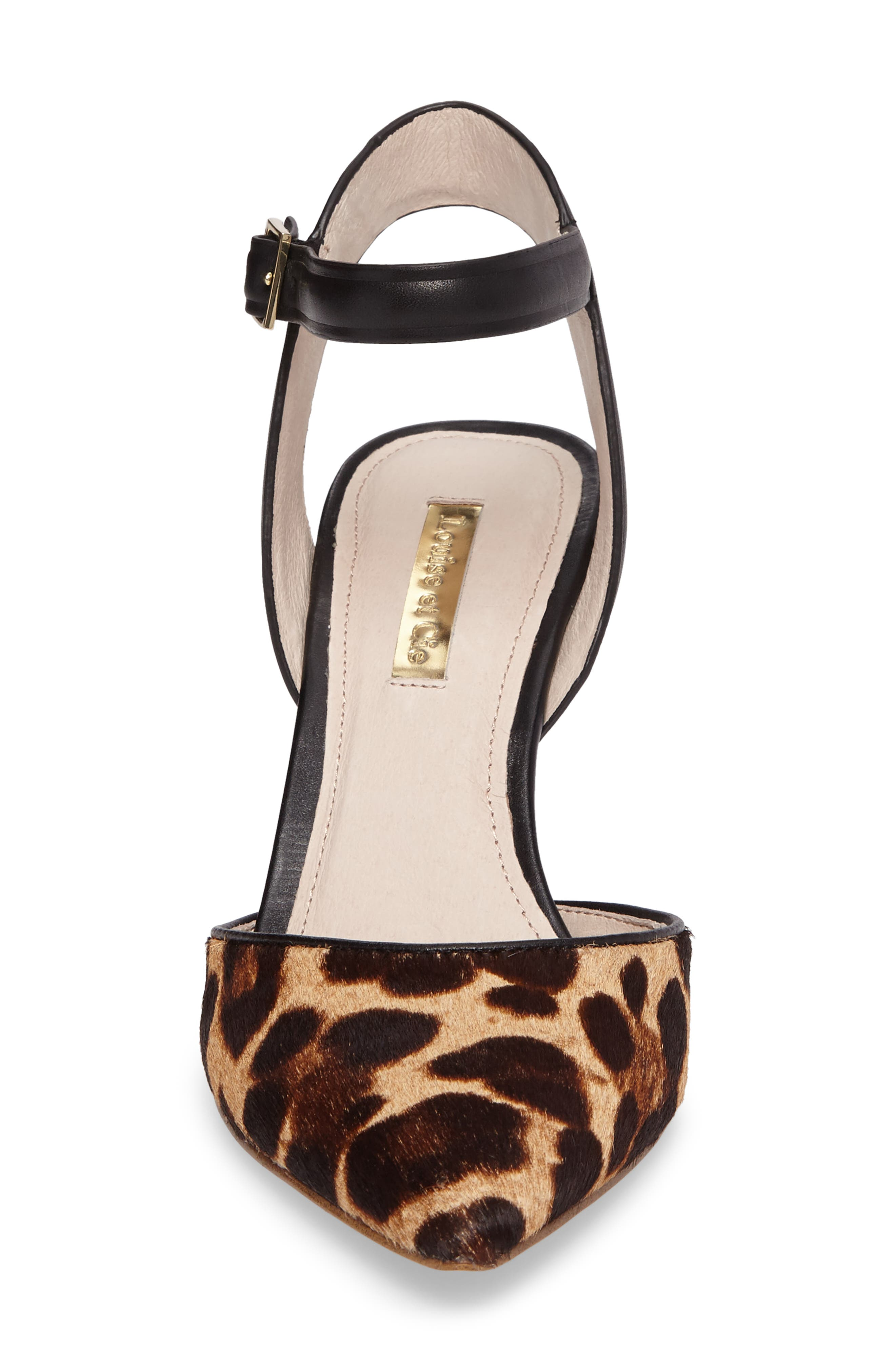 Kota Ankle Strap Pump,                             Alternate thumbnail 4, color,                             Leopard Print Calf Hair