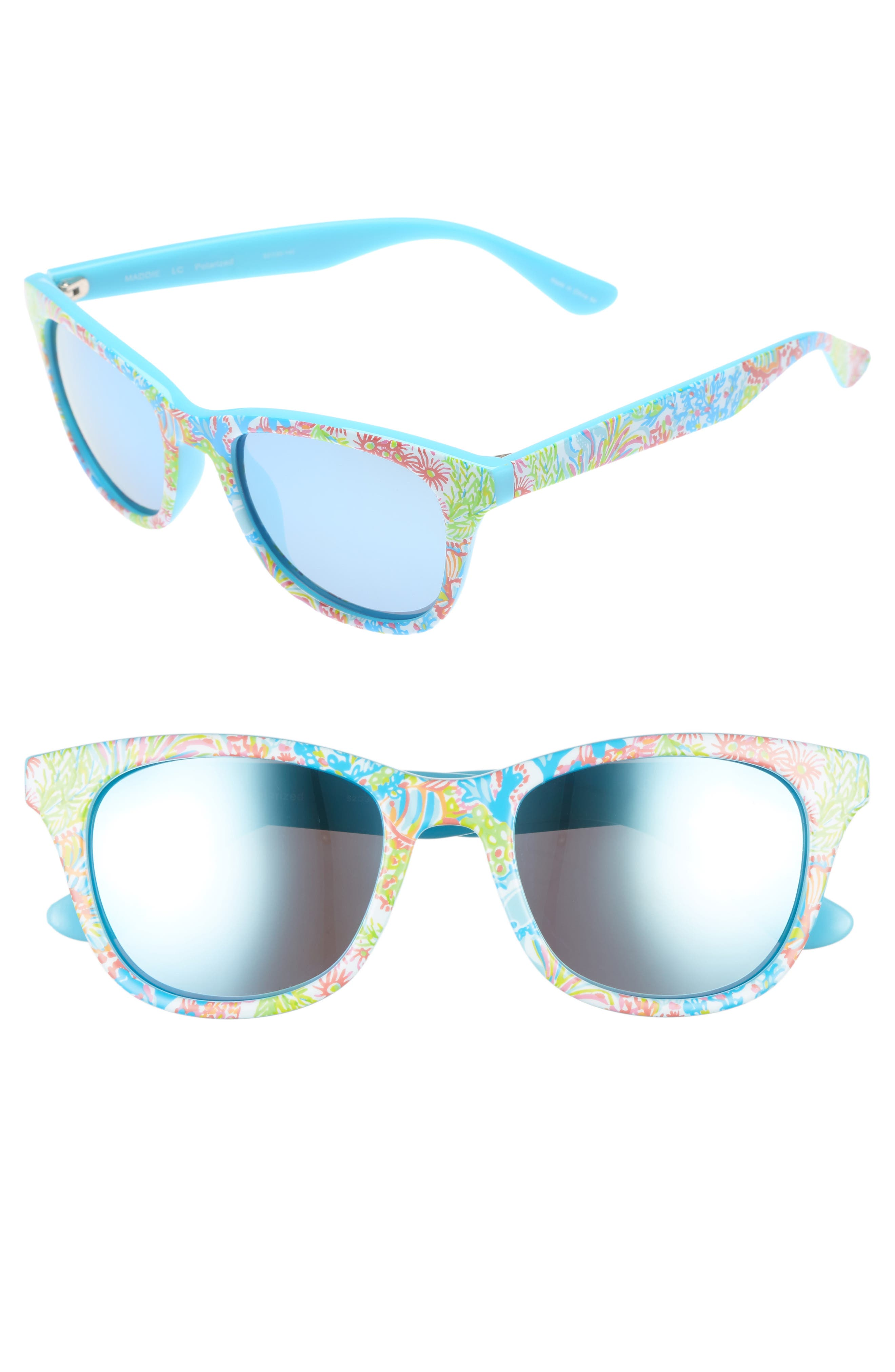 Maddie 52mm Polarized Mirrored Sunglasses,                             Main thumbnail 1, color,                             Blue