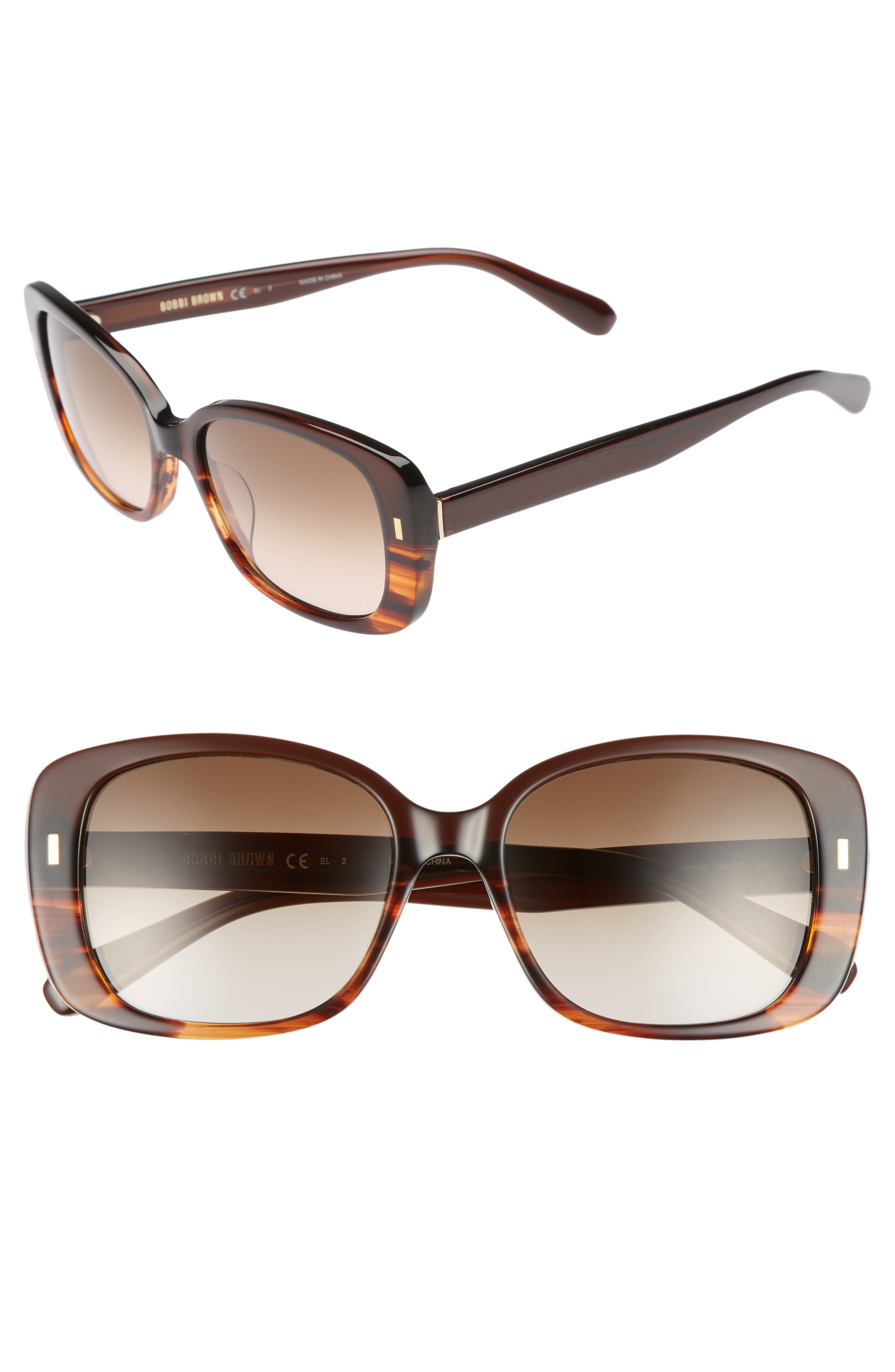 The Audrey 53mm Square Sunglasses,                             Main thumbnail 1, color,                             Brown Havana