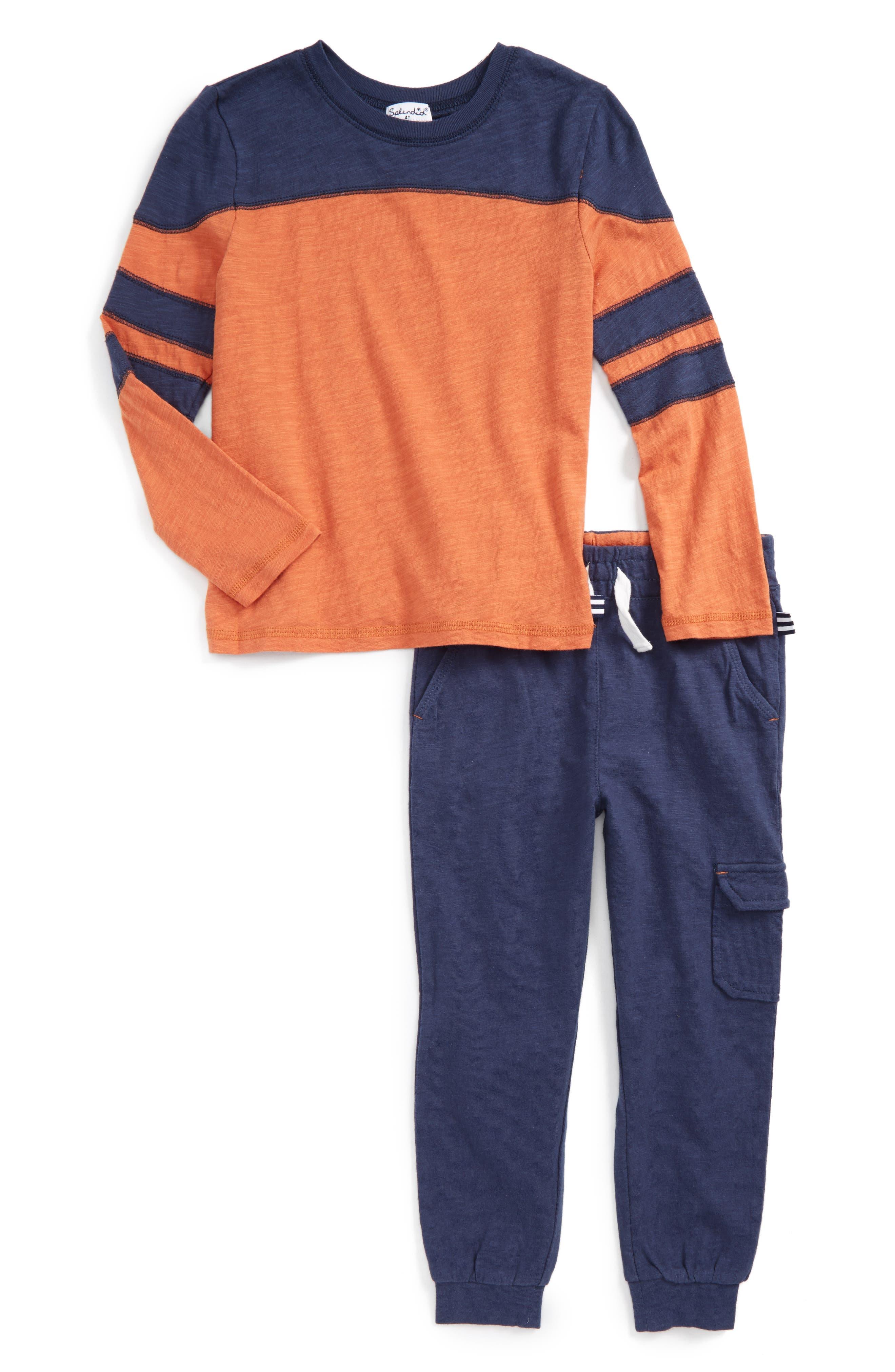 Long Sleeve T-Shirt & Jogger Pants,                         Main,                         color, Orange