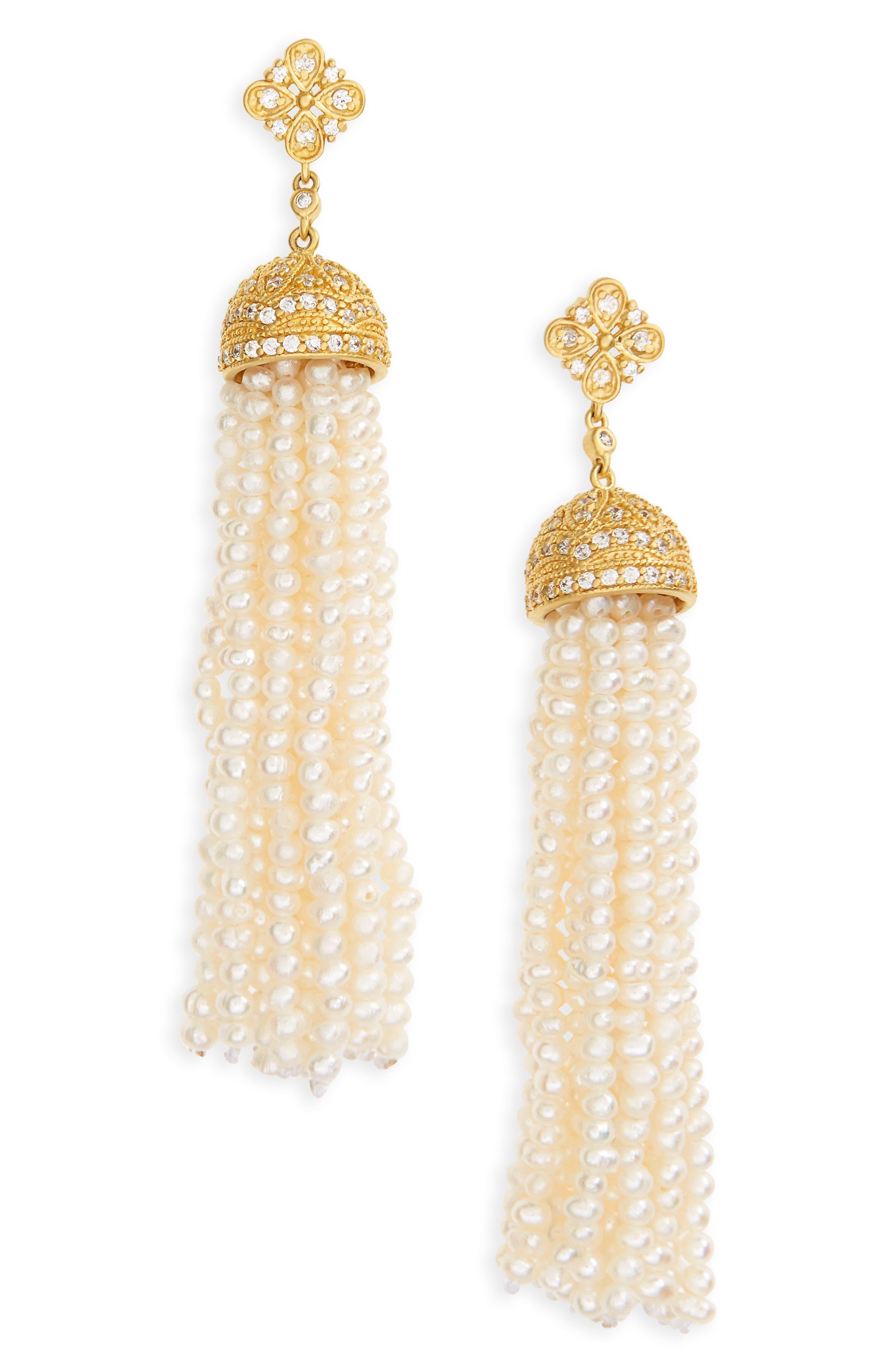 Audrey Waterfall Tassel Pearl Earrings,                             Main thumbnail 1, color,                             Gold/ Pearl