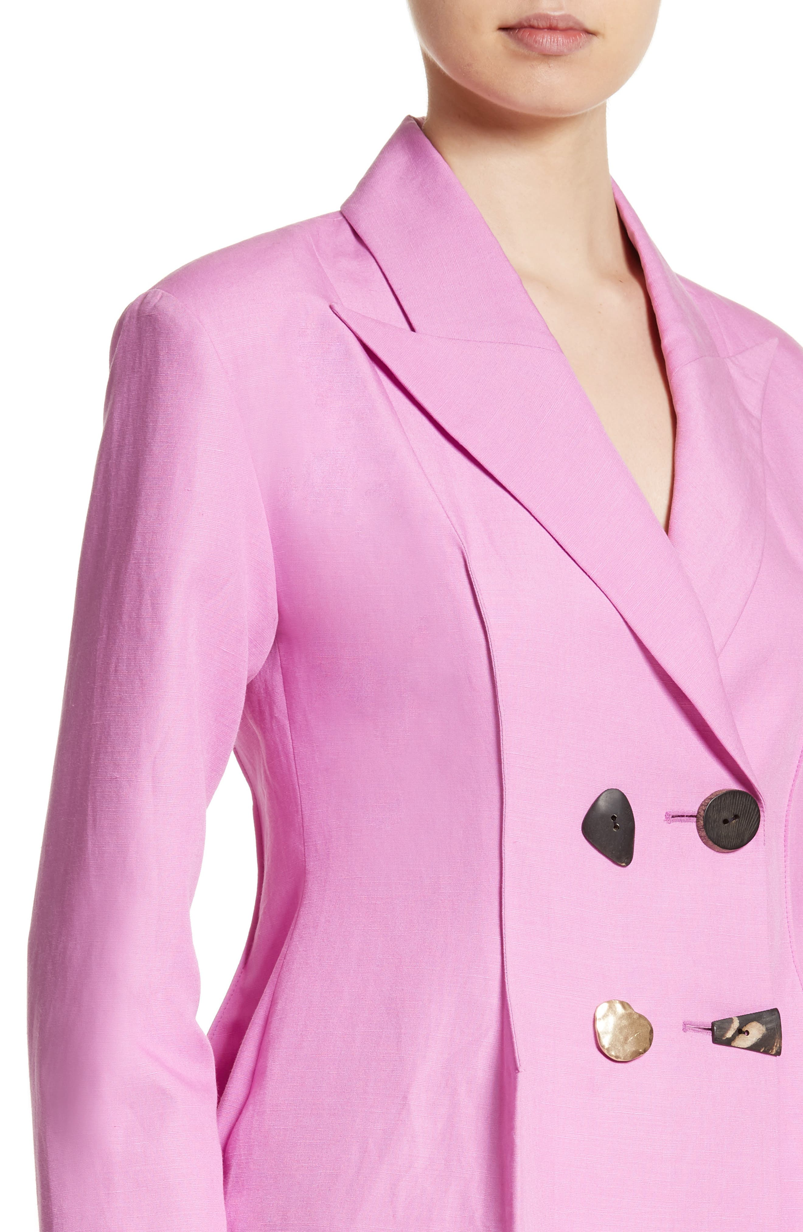Double Breasted Jacket,                             Alternate thumbnail 4, color,                             Linen Taffy Pink