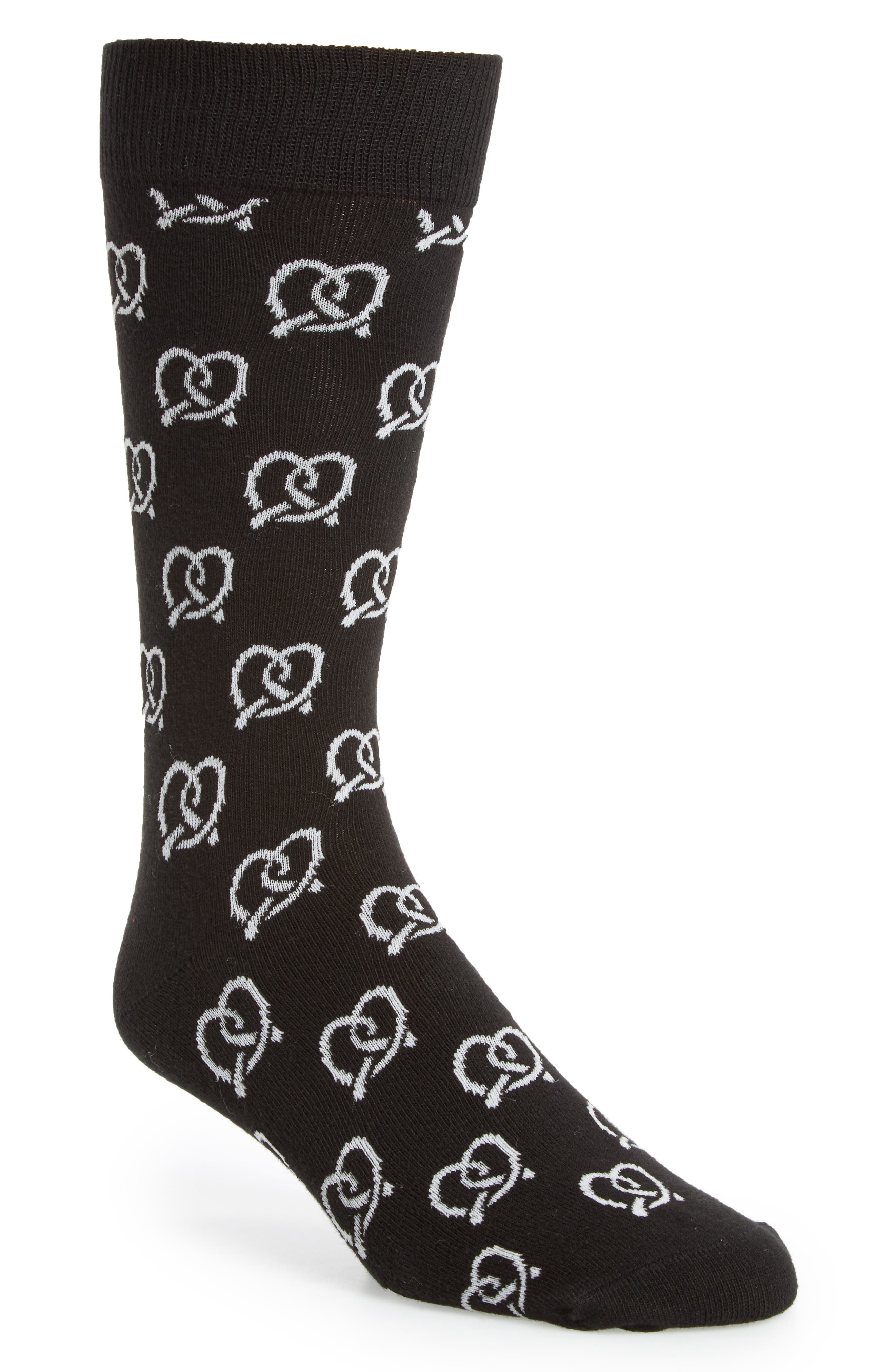 Pretzel Socks,                         Main,                         color, Black/ White