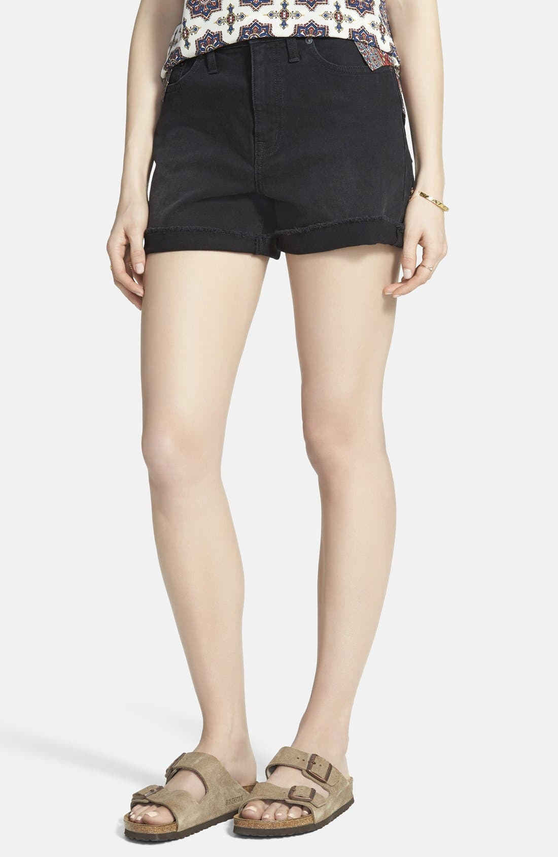 High Rise Denim Shorts,                             Main thumbnail 1, color,                             Washed Black