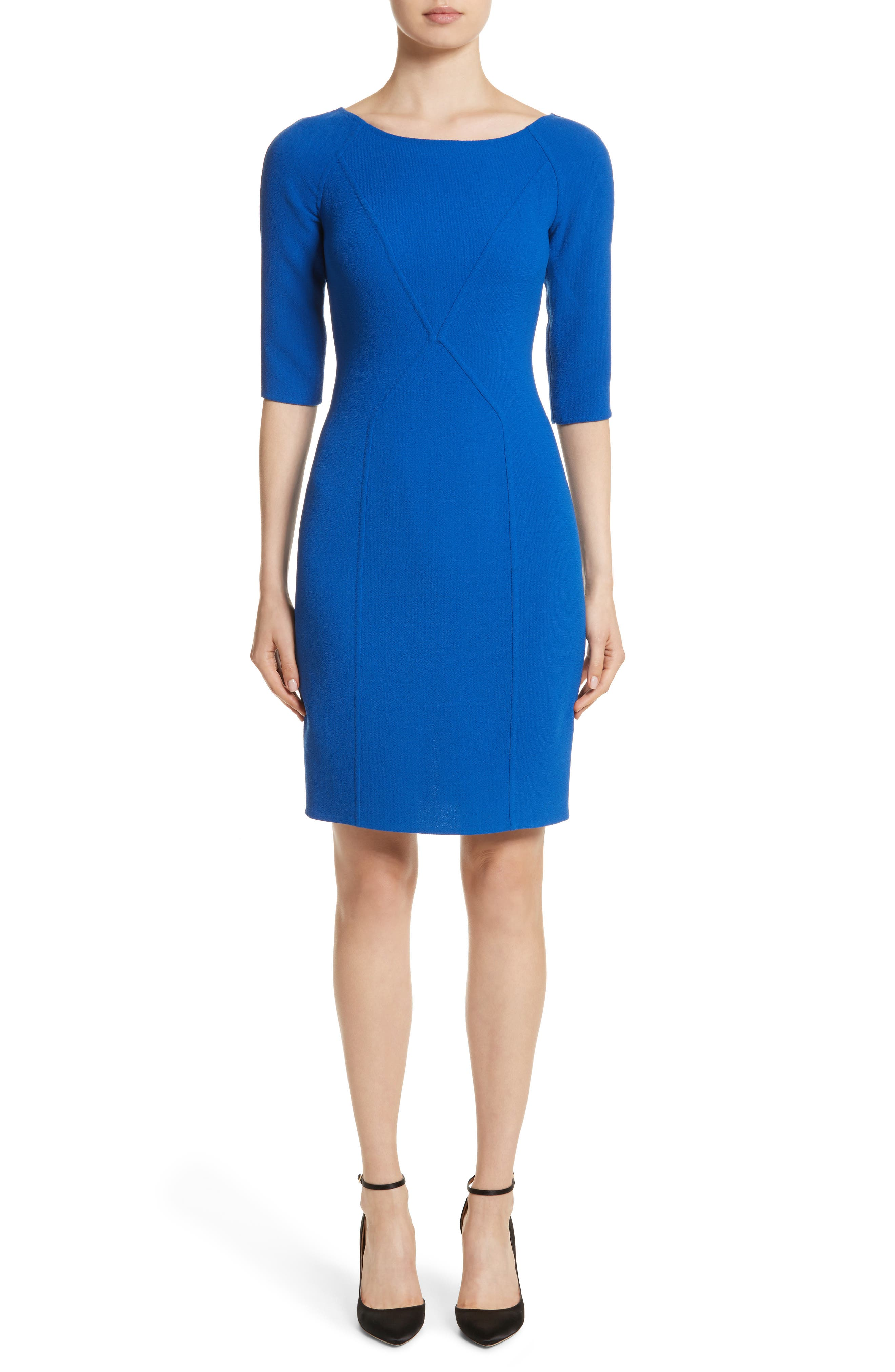 Carmen Marc Valvo Double Face Wool Crepe Sheath Dress