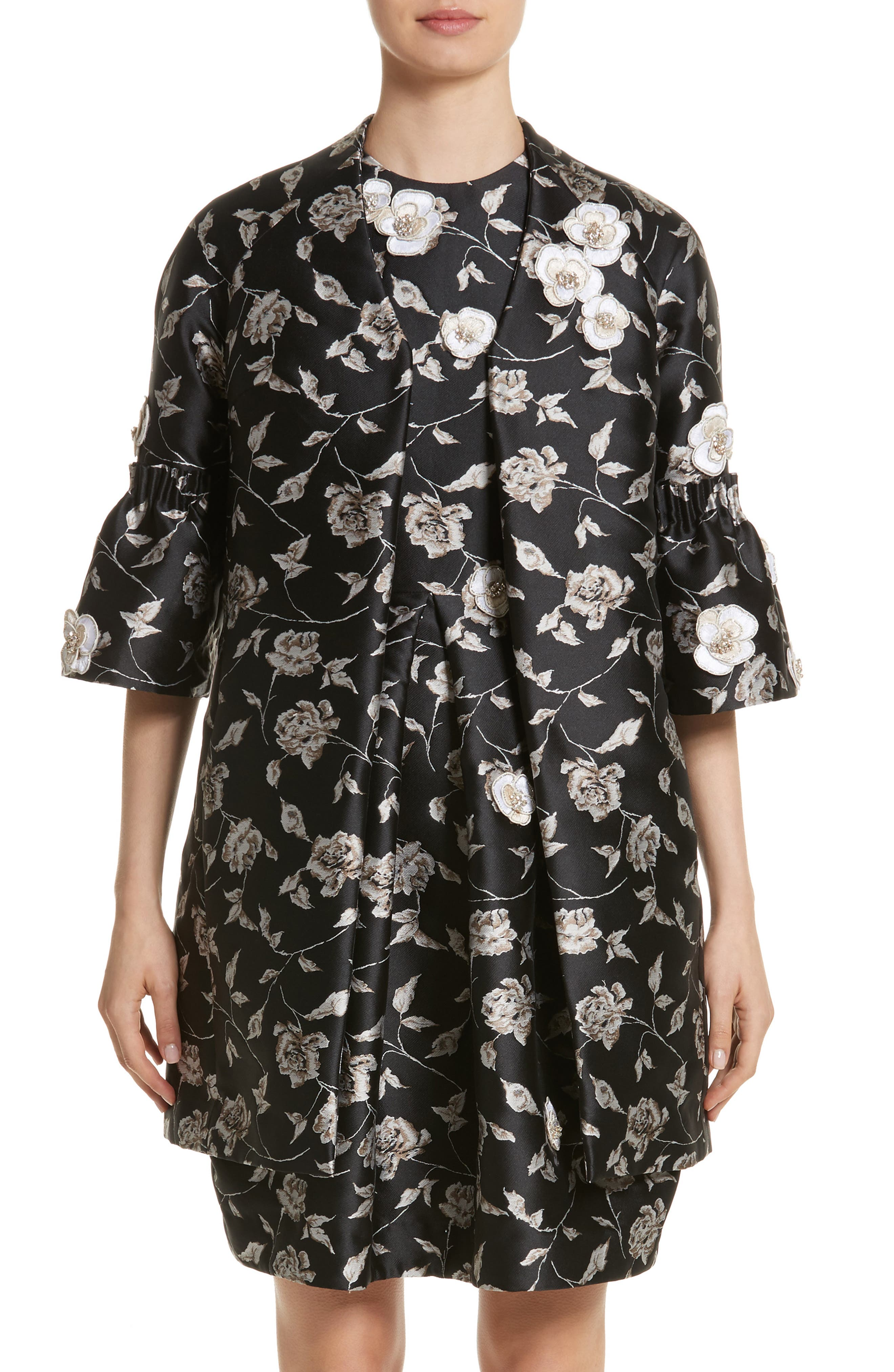 Carmen Marc Valvo Floral Jacquard Jacket,                             Main thumbnail 1, color,                             Black